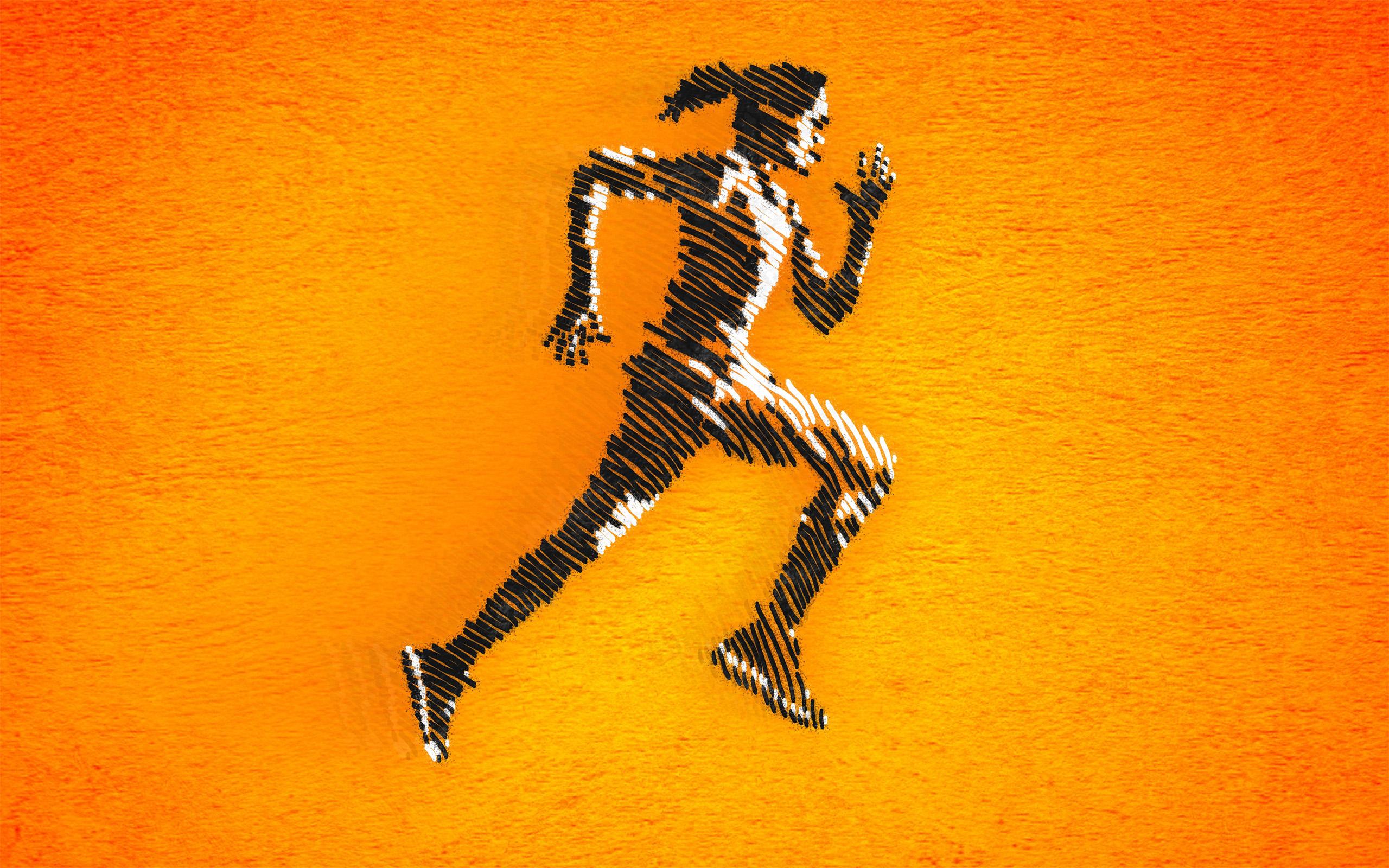 Born to run - female athlete sprinting photo