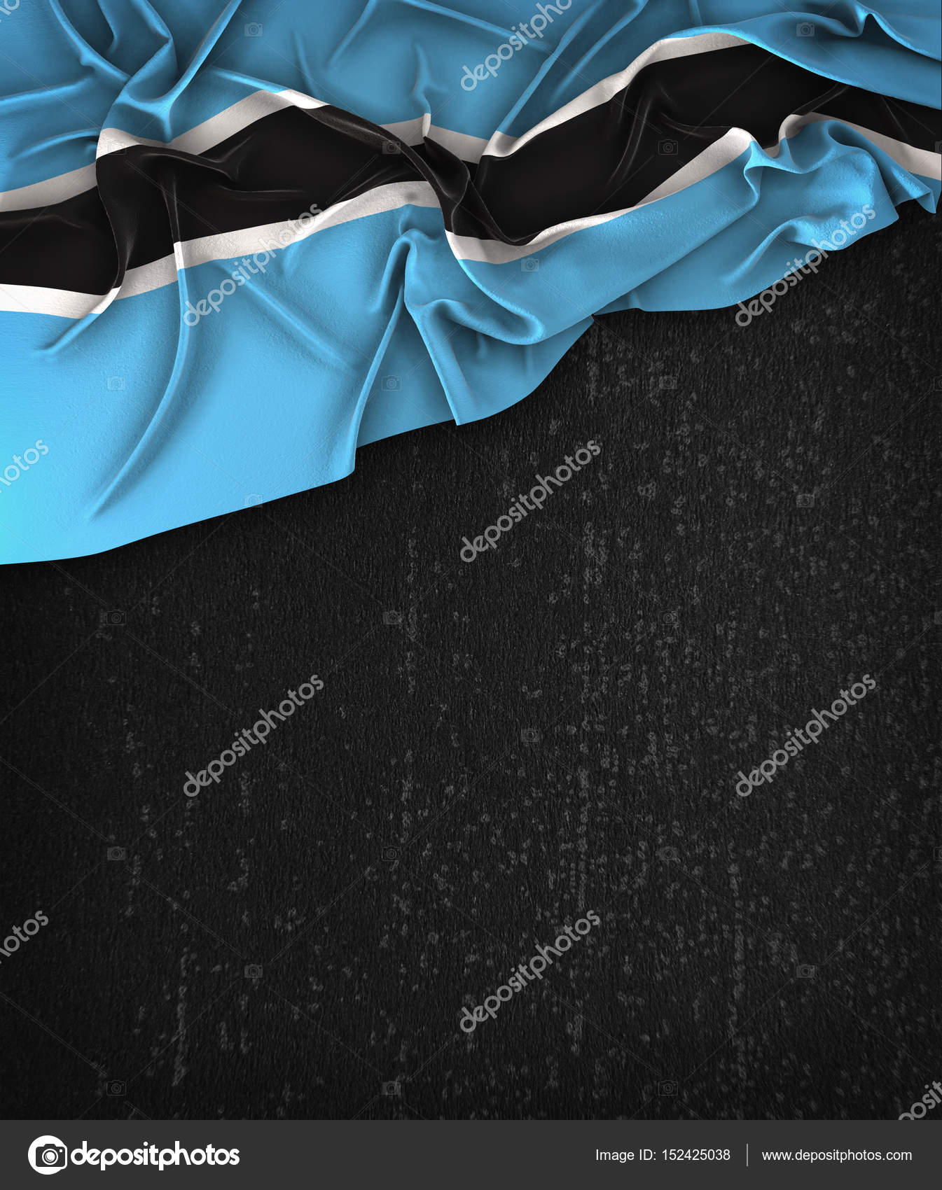 Botswana Flag Vintage on a Grunge Black Chalkboard With Space Fo ...