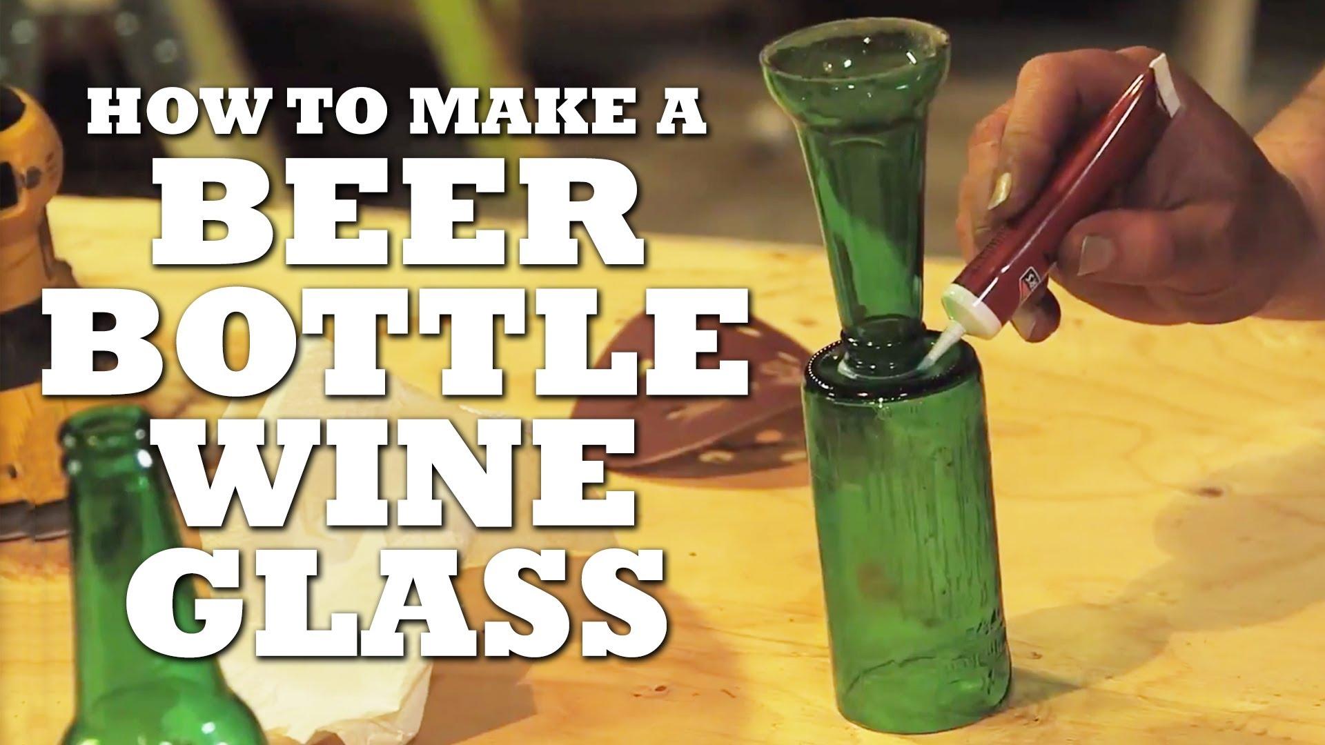 How to Make BEER Bottle Wine Glasses - YouTube