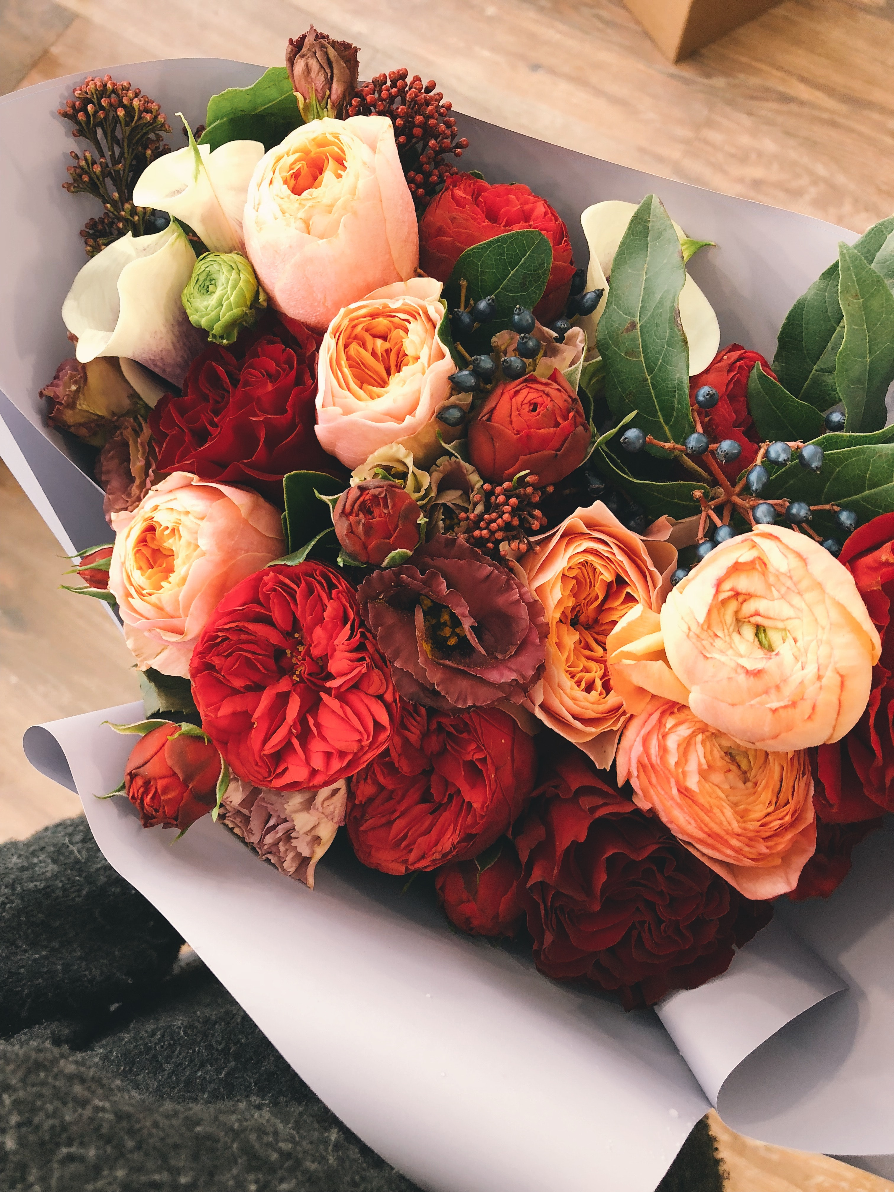 Bouquet of Flowers Covered in Paper, Flowers, Leaves, Petals, Roses, HQ Photo