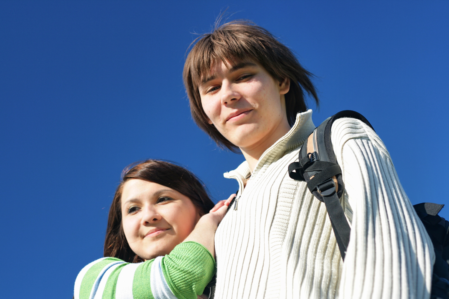 boy and girl, Blue, Male, Together, Portrait, HQ Photo