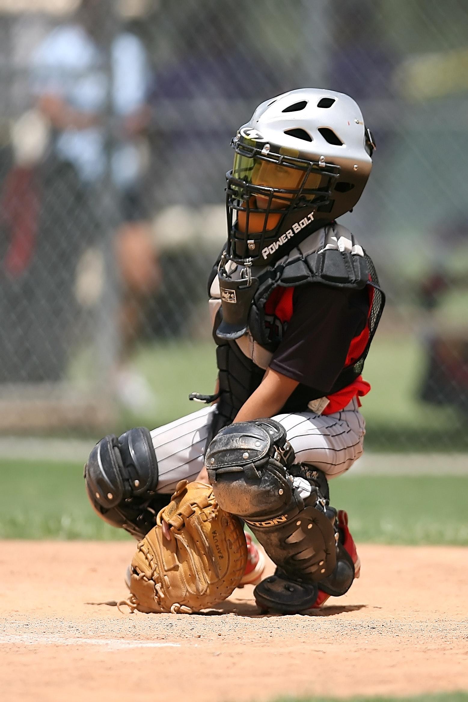 Boy in Black Power Balt Baseball Helmet, Athlete, Baseball, Boy, Catcher, HQ Photo