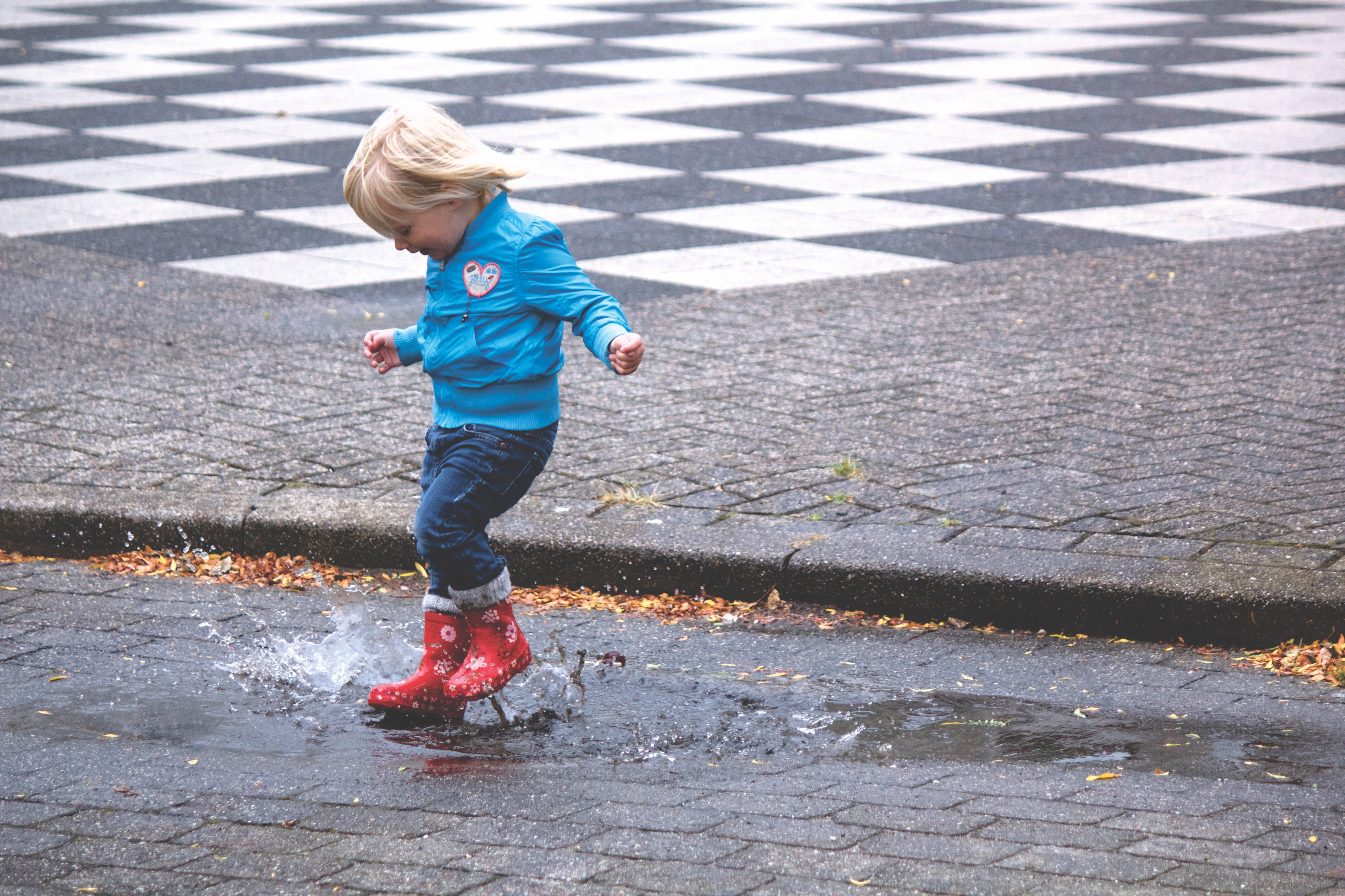 Boy in Blue Jacket Hopping on Water Puddle, Child, Fun, Jump, Jumping, HQ Photo