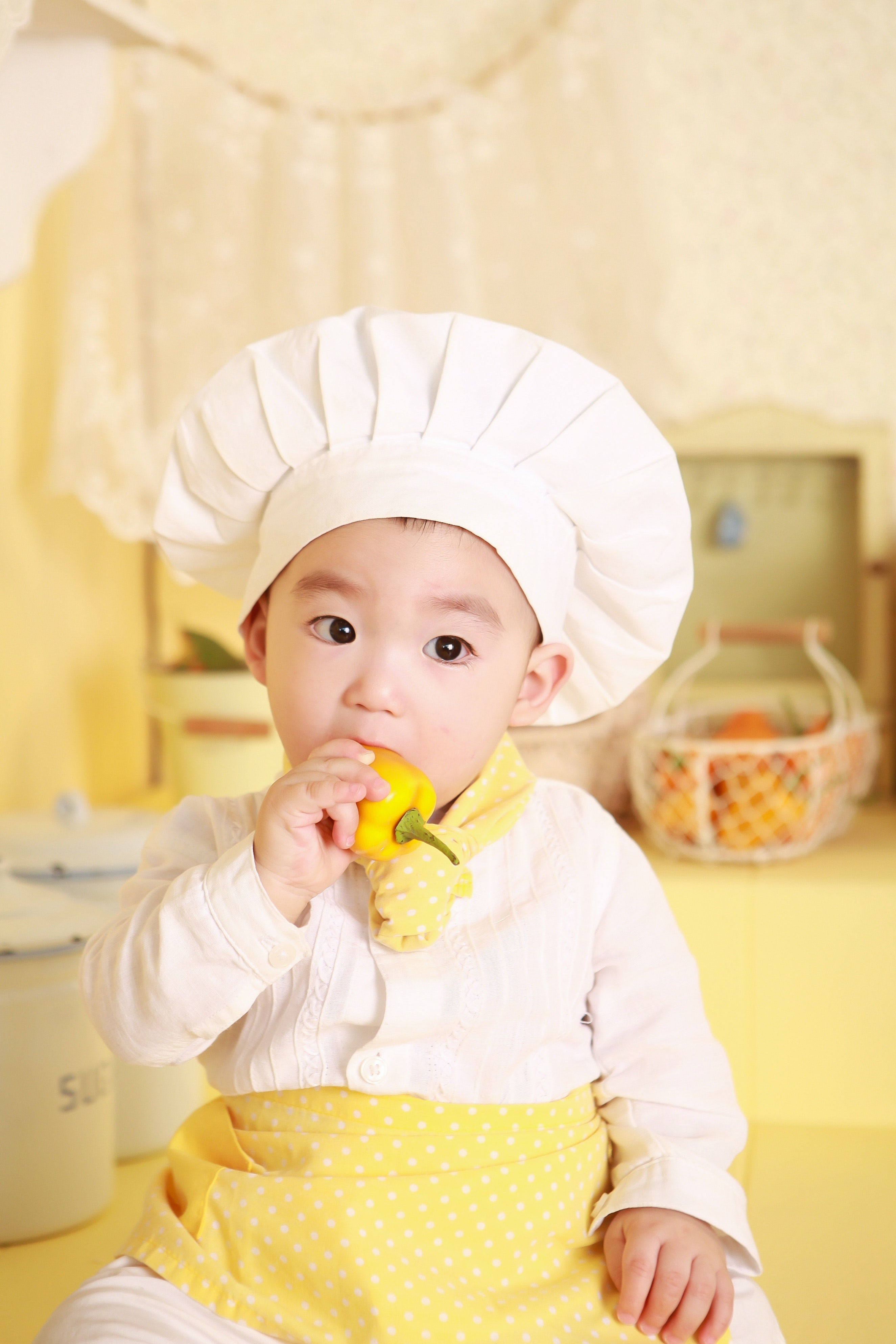 Boy wearing chef hat photo