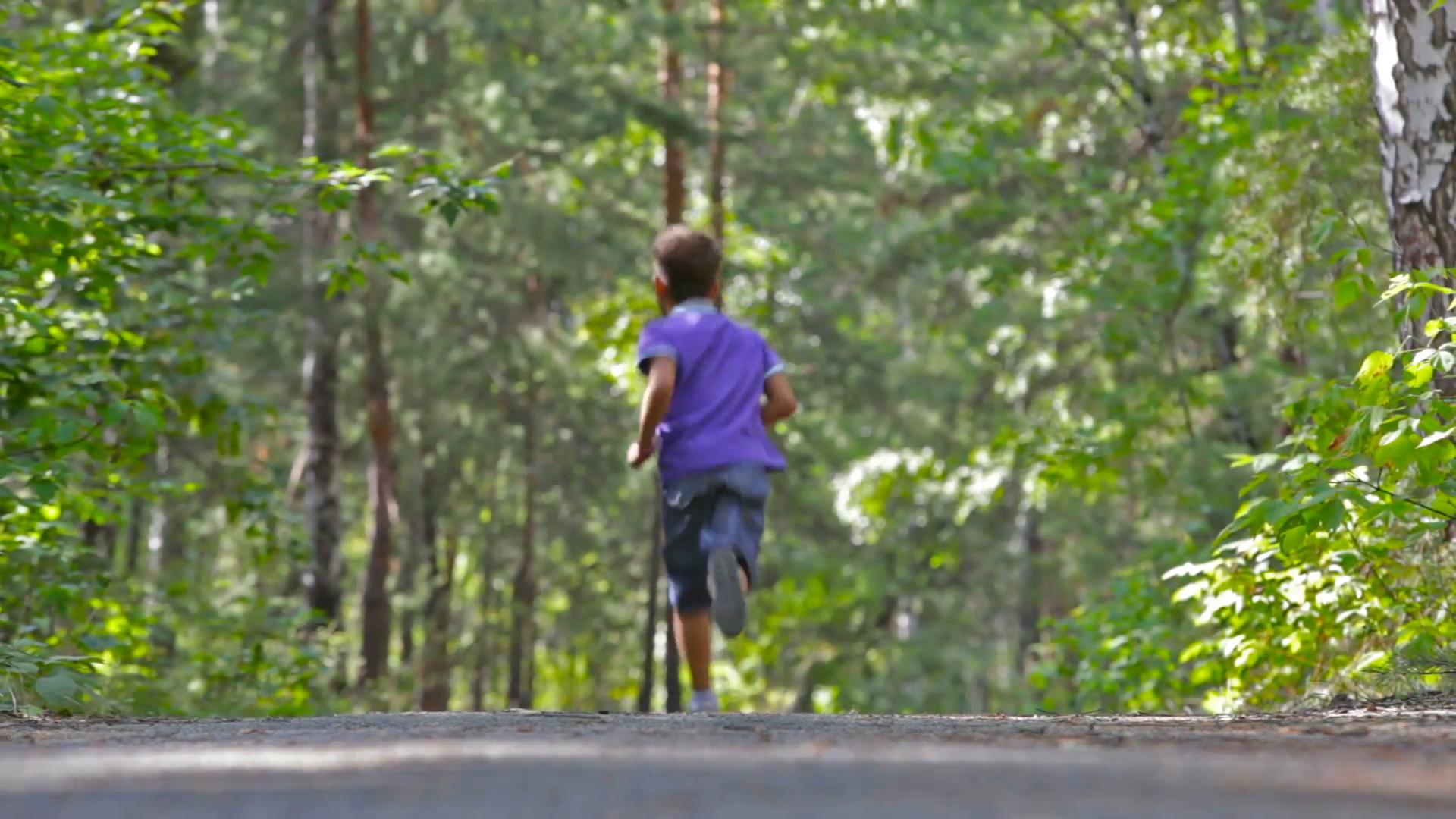 Little boy running in the woods Stock Video Footage - VideoBlocks