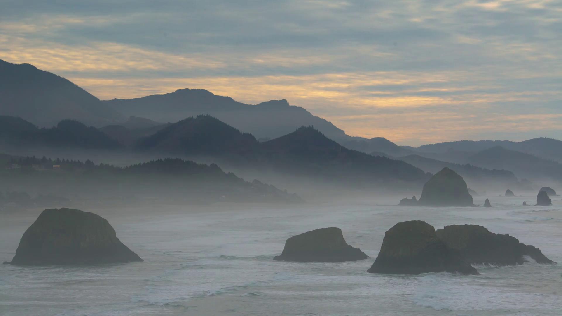 Salty Air Haze. Sea salt haze from breaking waves on the Oregon ...