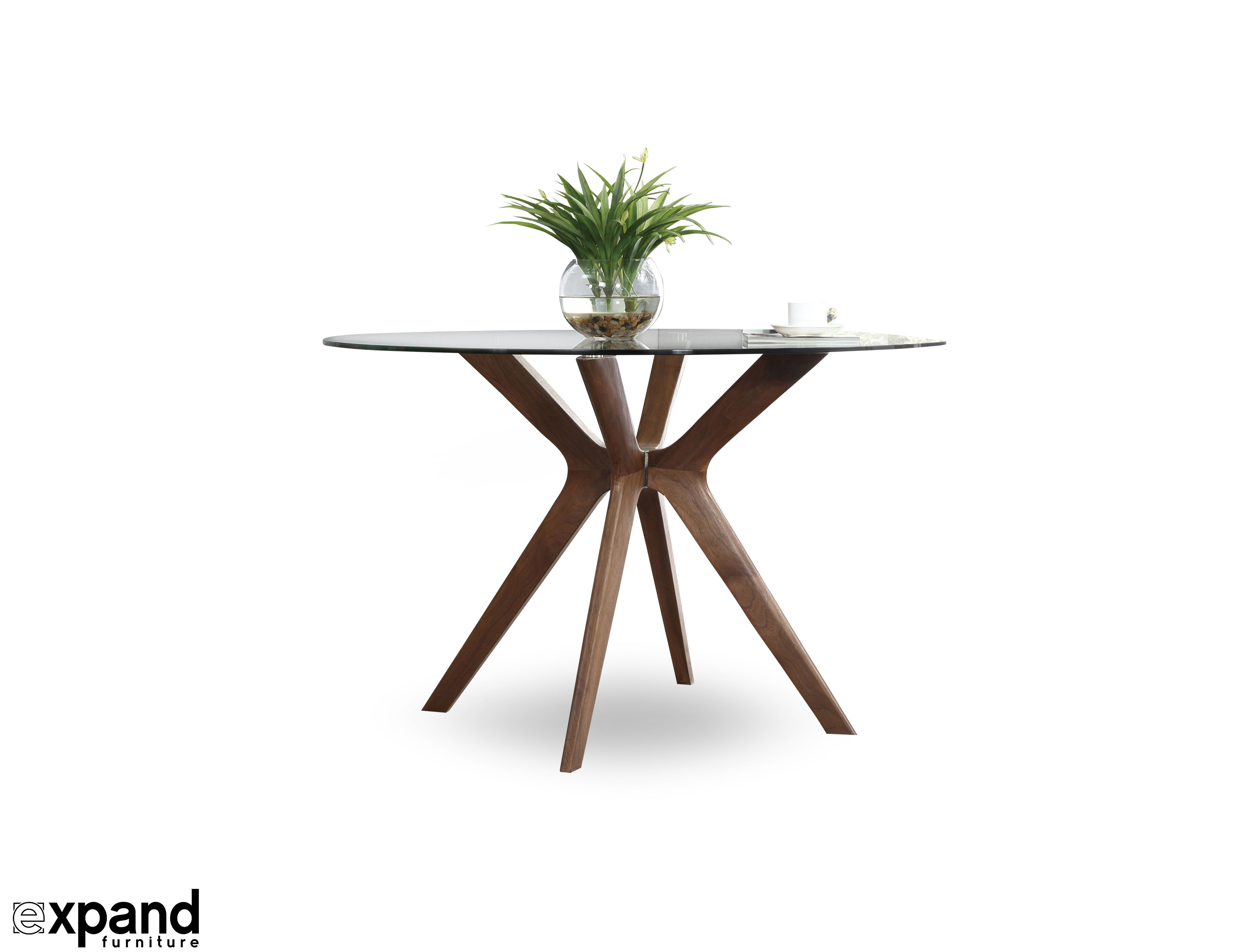 The Branch - Round Clear Glass Table with Wood Legs