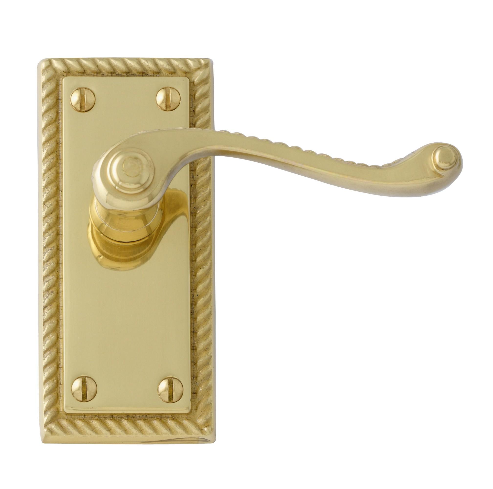 Interior Door Handles-Georgian polished brass internal door handles uk.