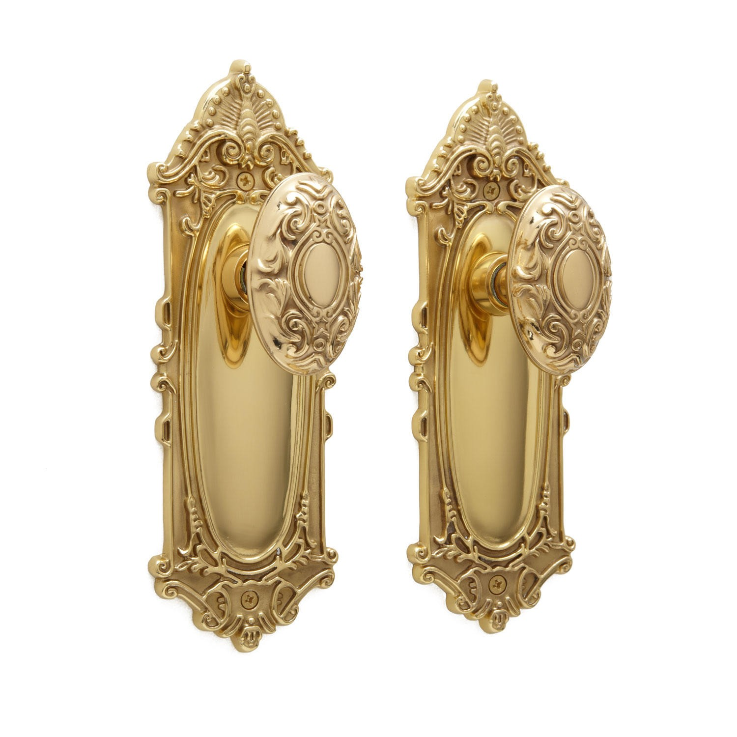 Victorian Door Knob & Plate Set - Privacy, Passage and Dummy - Hardware