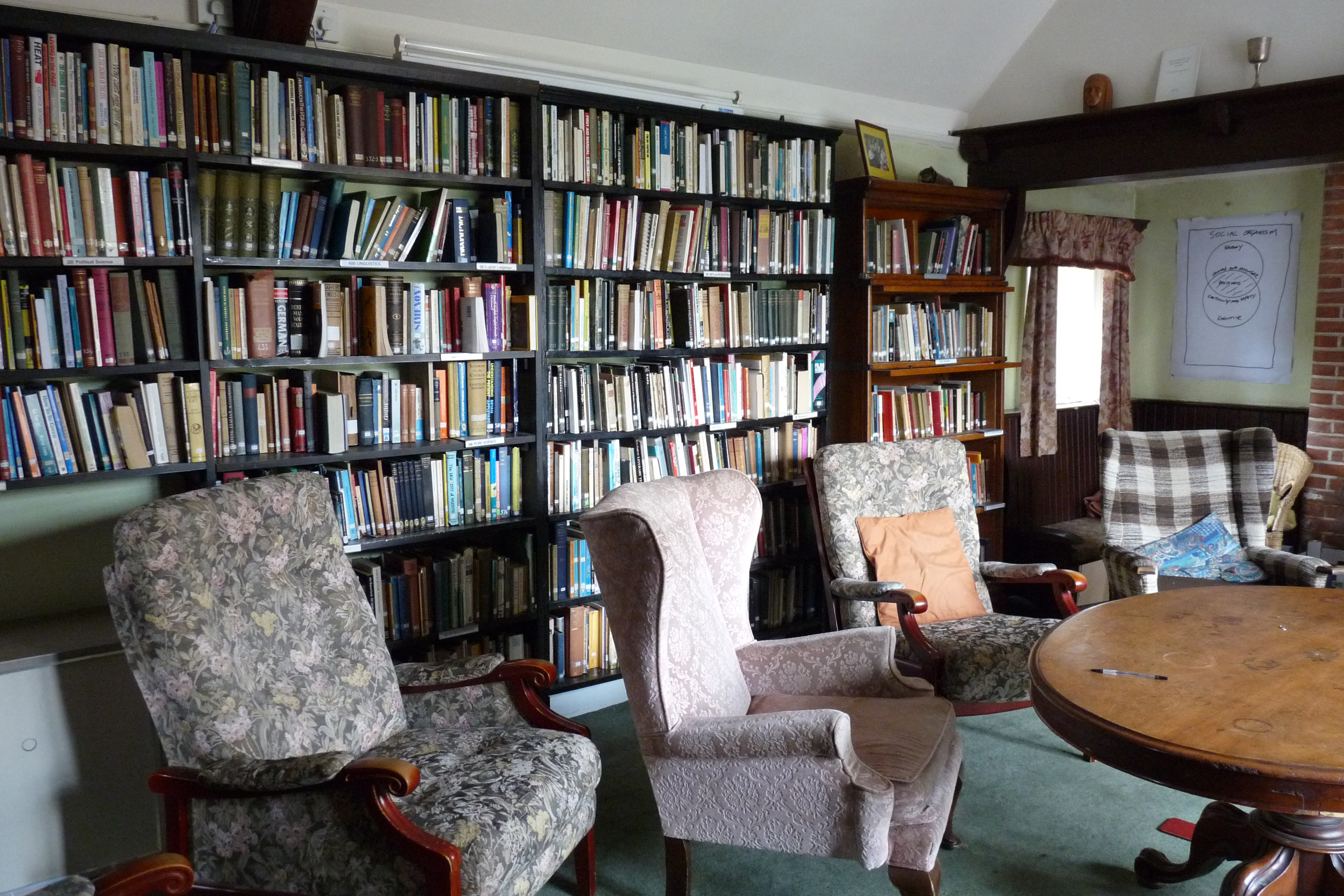 Braziers Park House - library (4), 2015, Books, Bookshelves, Chairs, HQ Photo