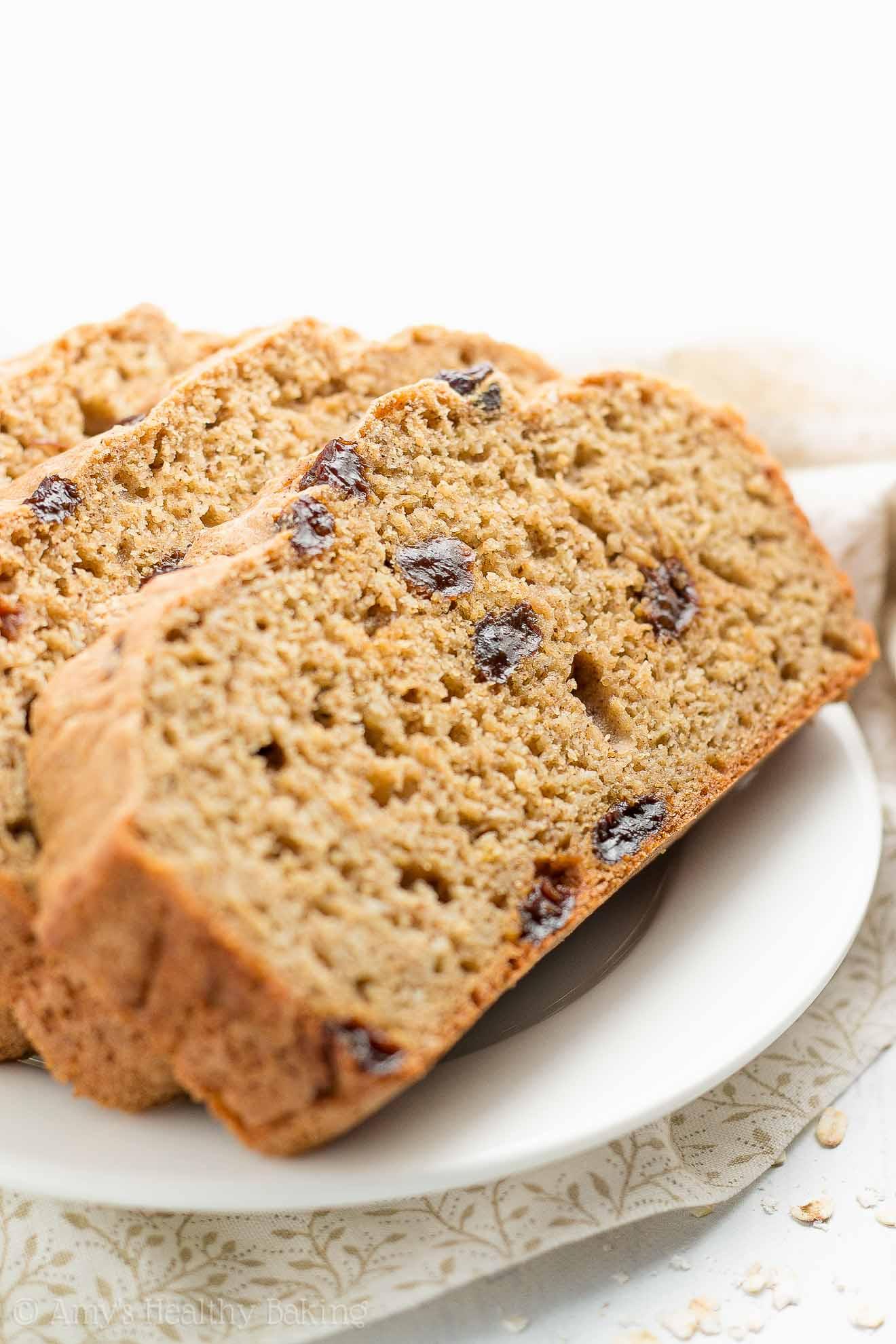 Healthy Oatmeal Raisin Breakfast Quick Bread | Amy's Healthy Baking