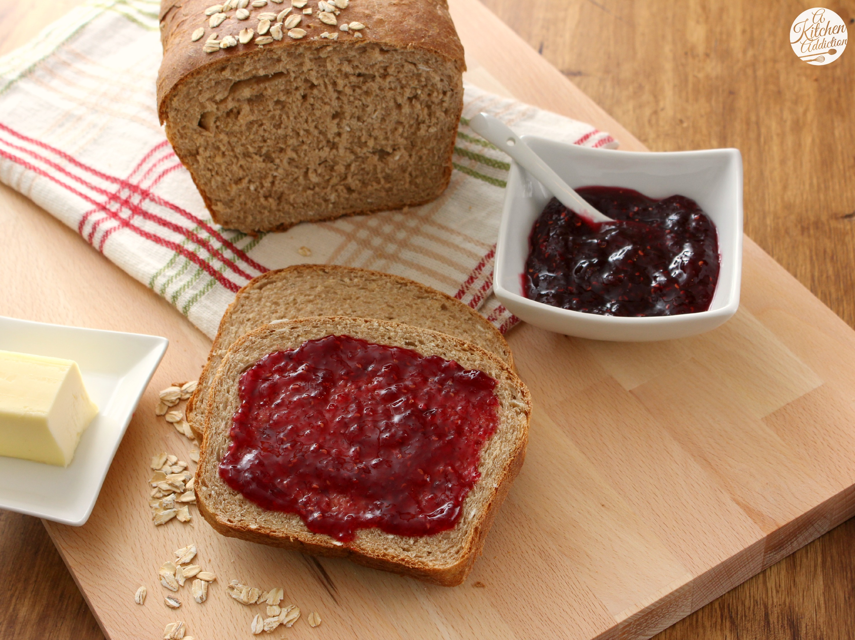 Whole Wheat Honey Oat Bread - A Kitchen Addiction