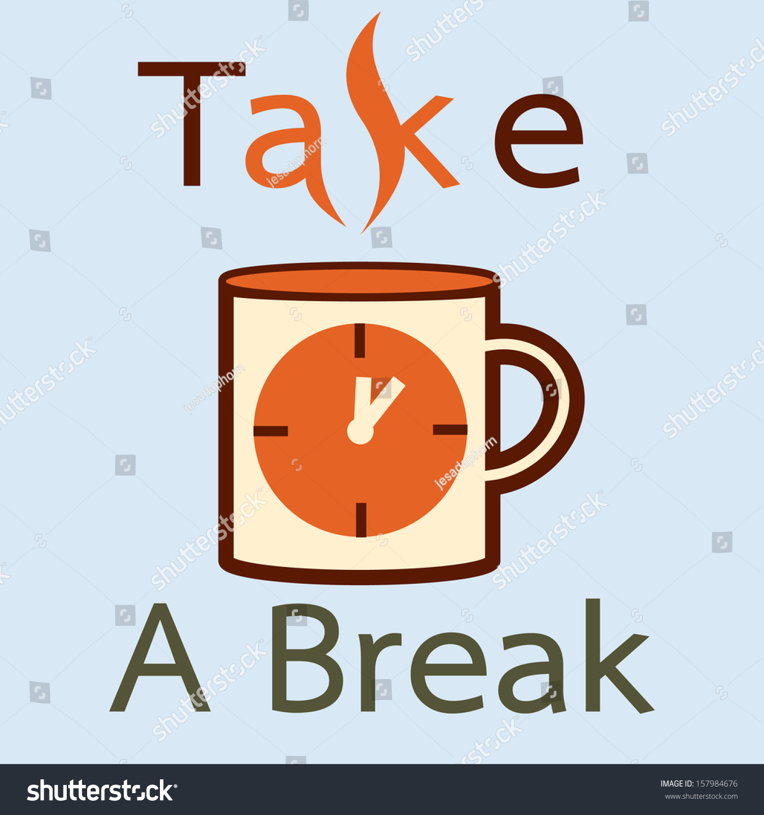 Take Break Coffee Time Concept Vector Stock Vector HD (Royalty Free ...