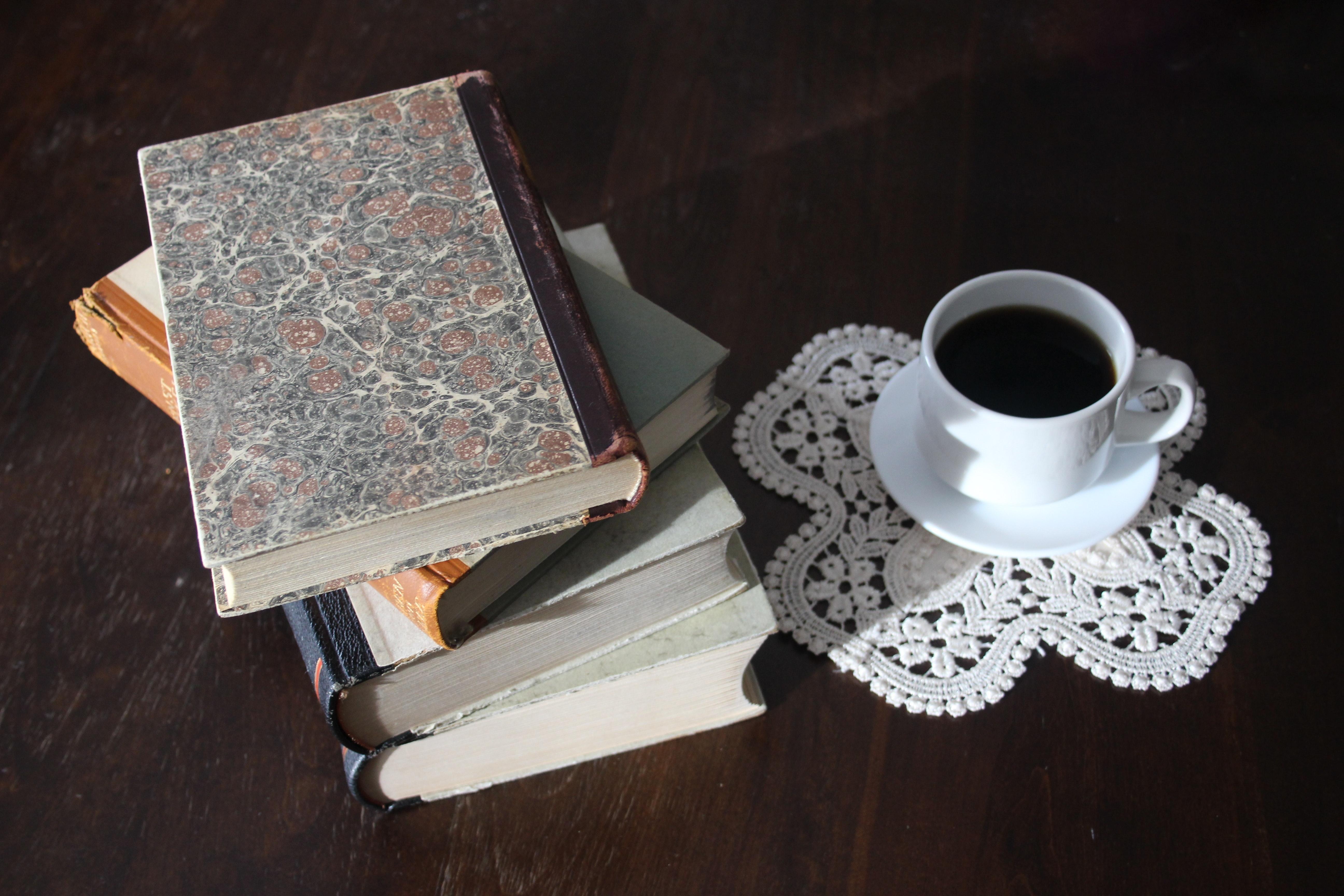 Breakfast Set, Antique, Book, Books, Coffee, HQ Photo