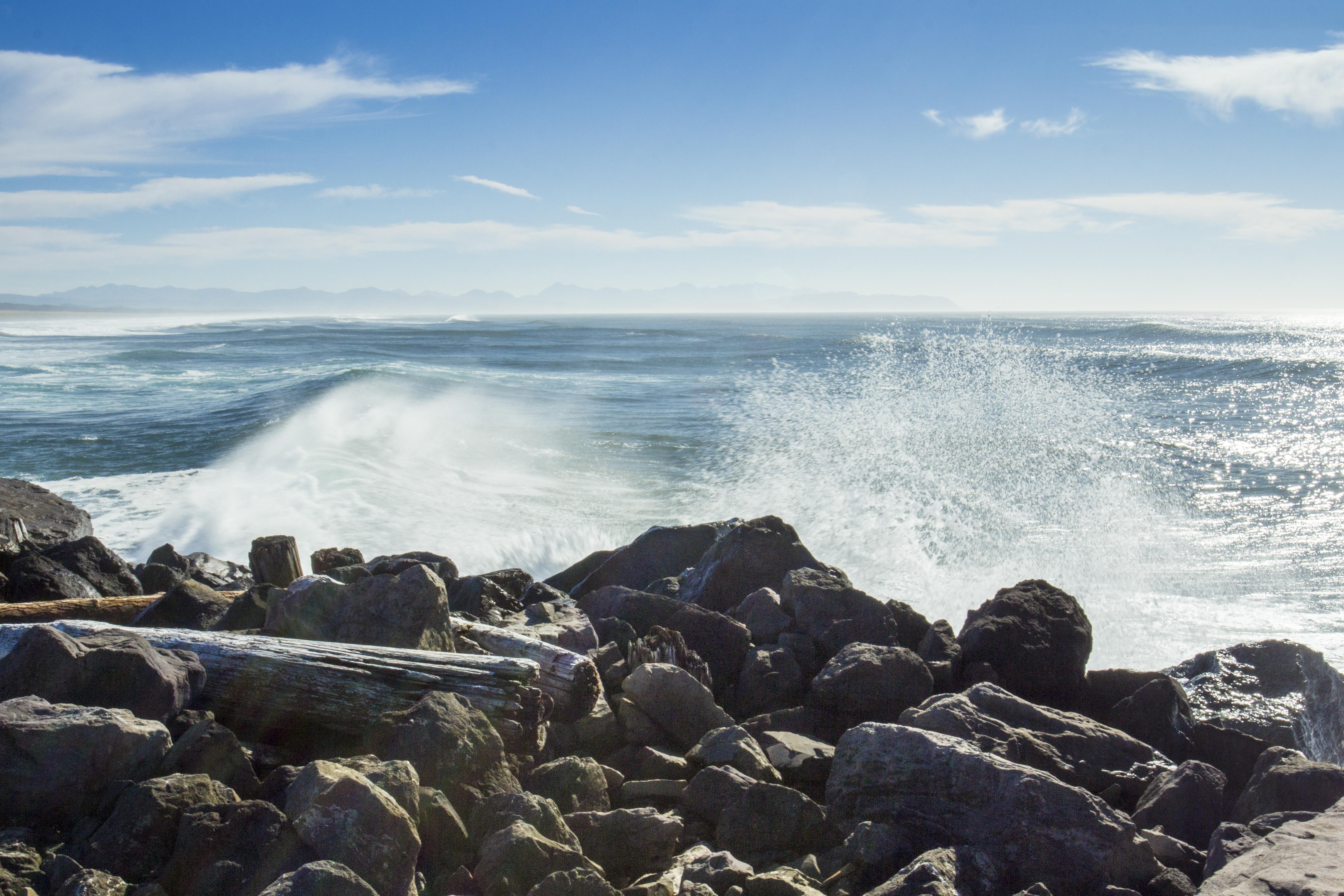 Breaking waves, Oregon Coast, Bay, Coast, Mist, Ocean, HQ Photo