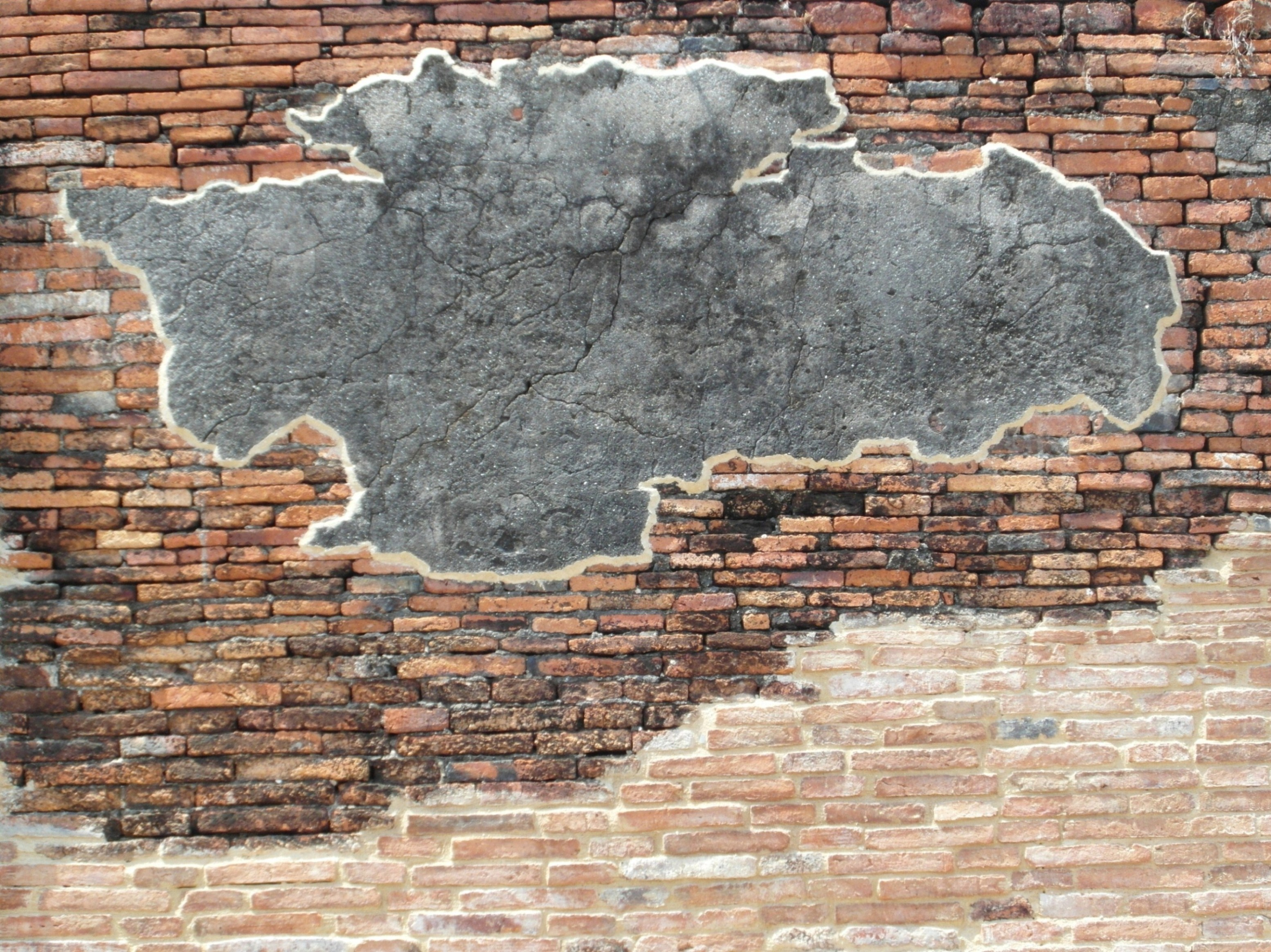 Brick Wall with Blank Concrete Patch, Architectural, Restoration, Old, Patch, HQ Photo