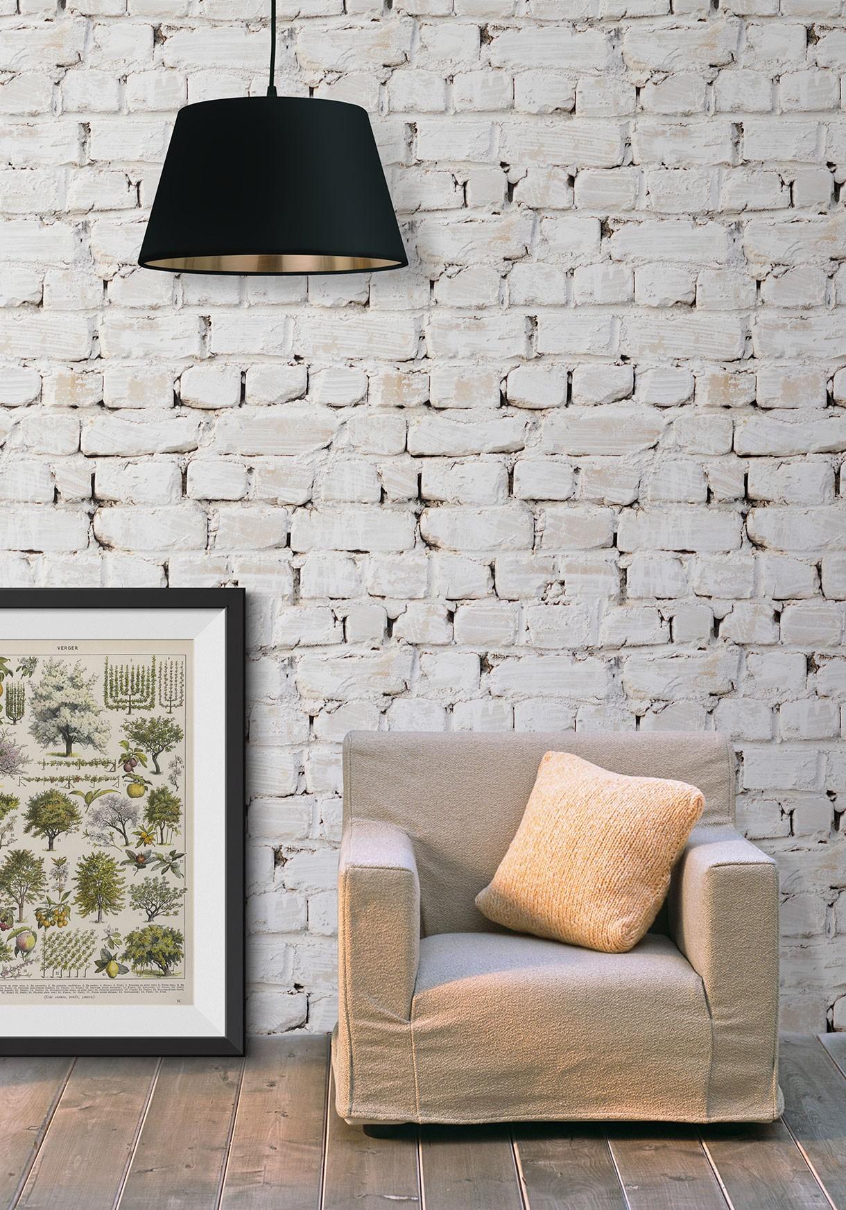 Rustic White Washed Brick Wallpaper   Milton & King