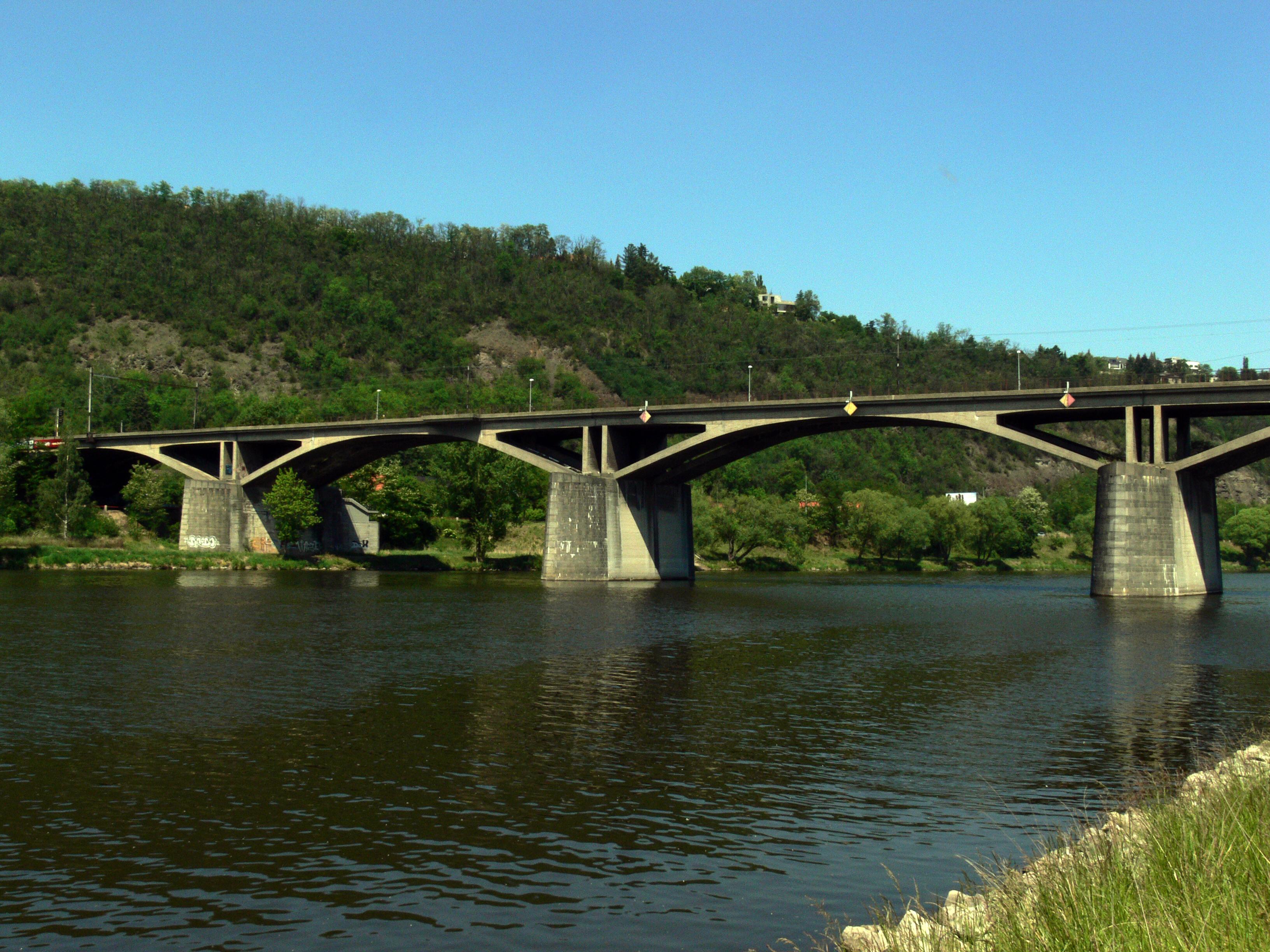 bridge, Hill, Railway, River, Sky, HQ Photo