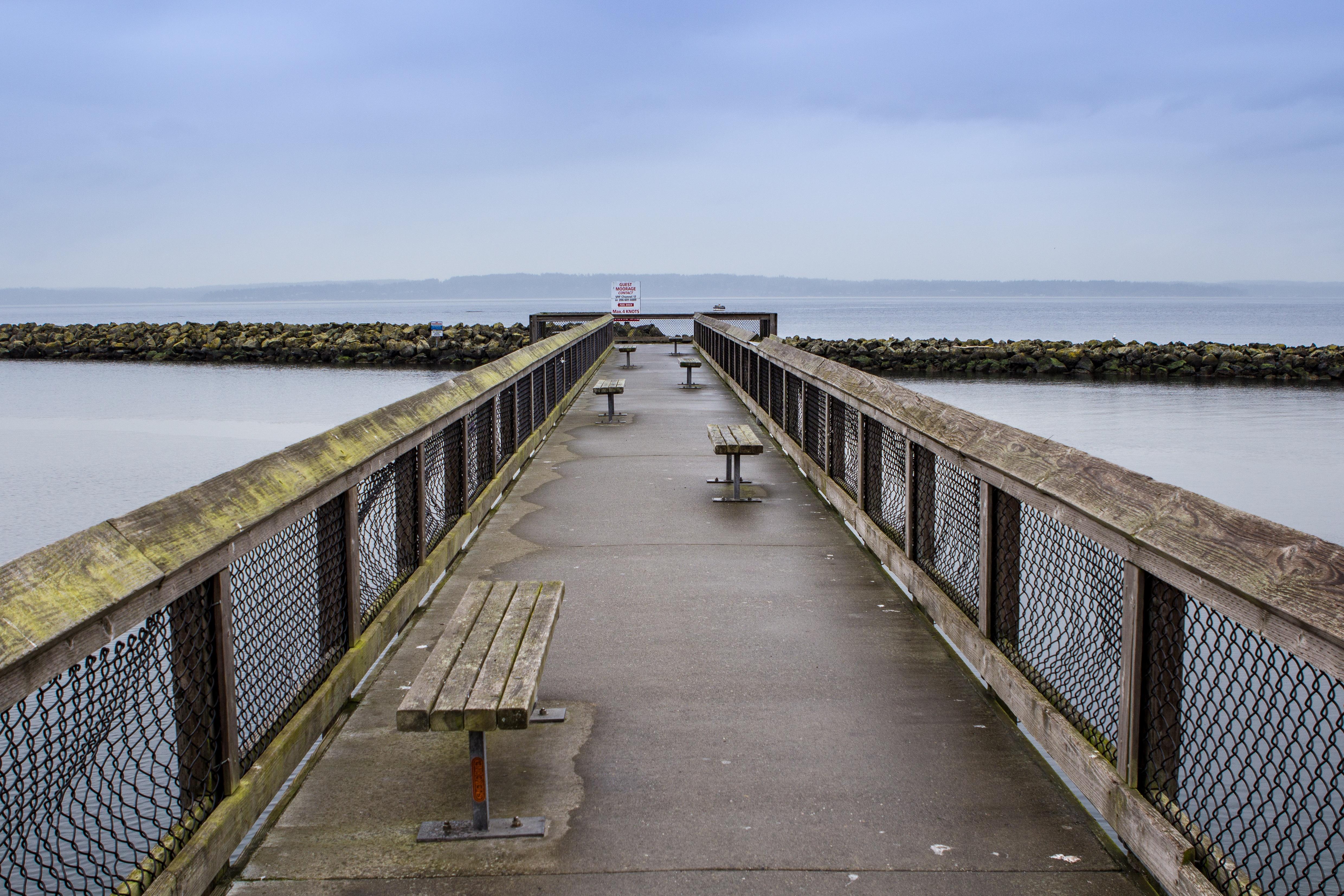 Bridge, Blue, Old, Sea, Water, HQ Photo