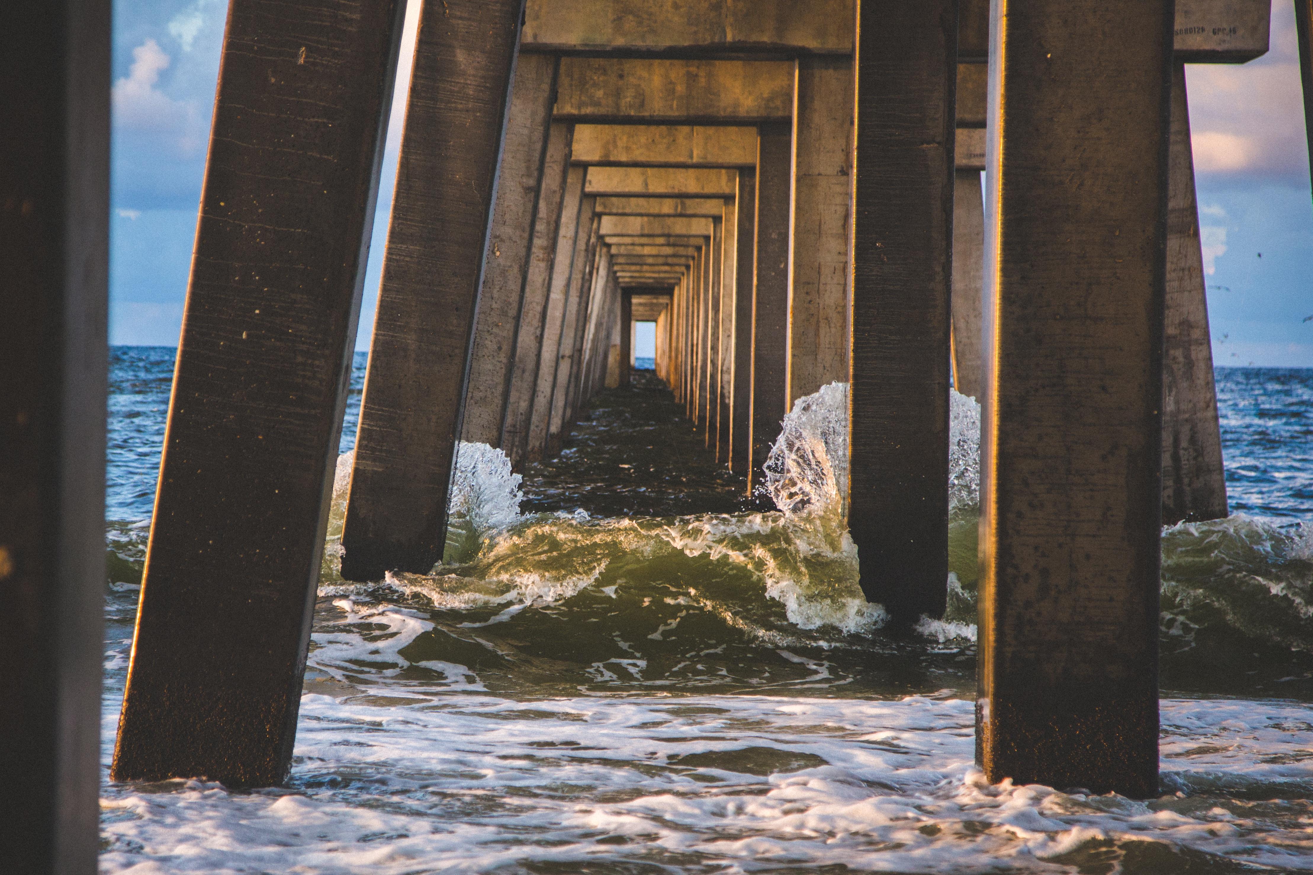 Bridge, Sea, Speed, Splash, Support, HQ Photo