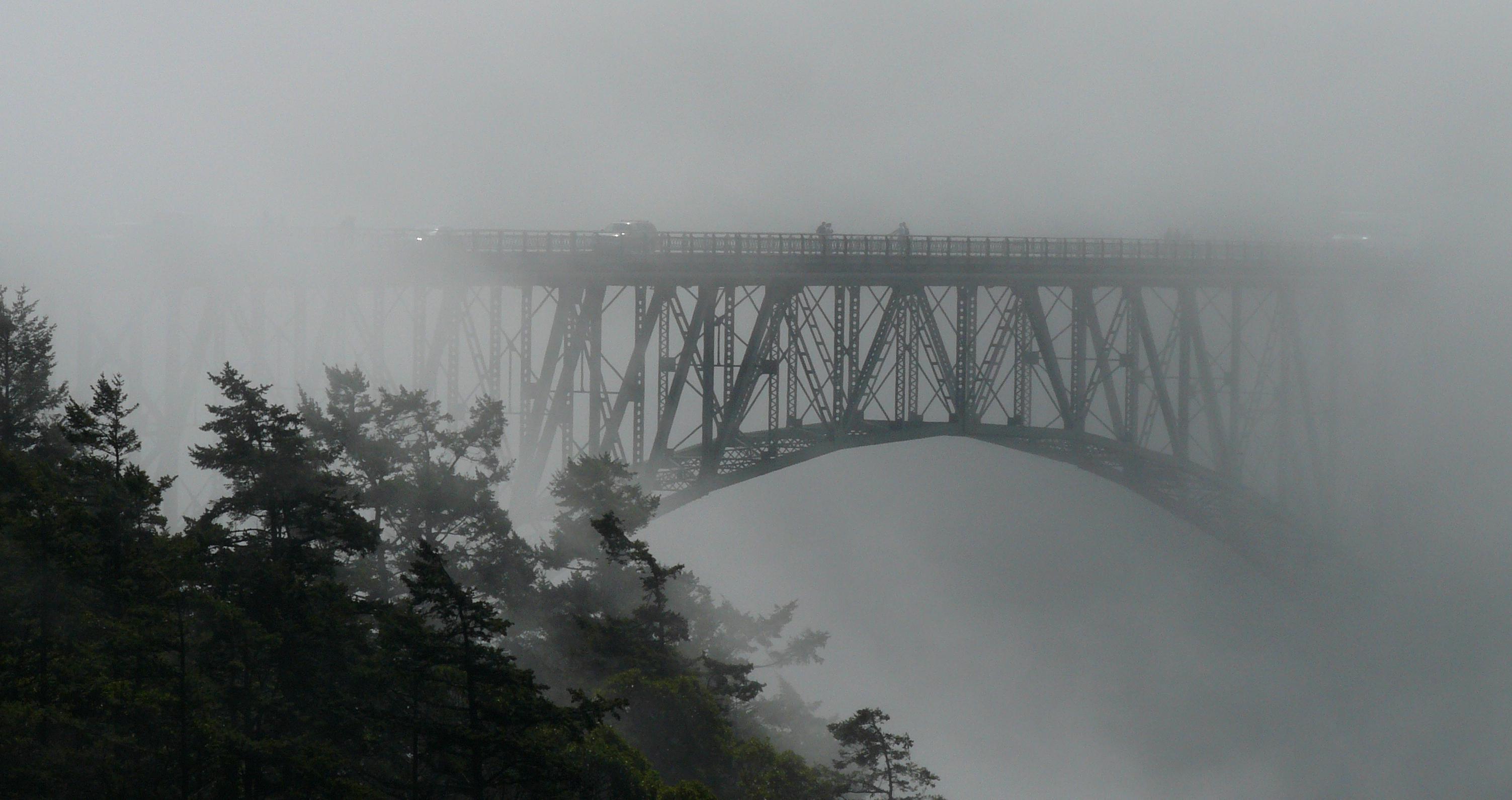 Bridge in fog photo