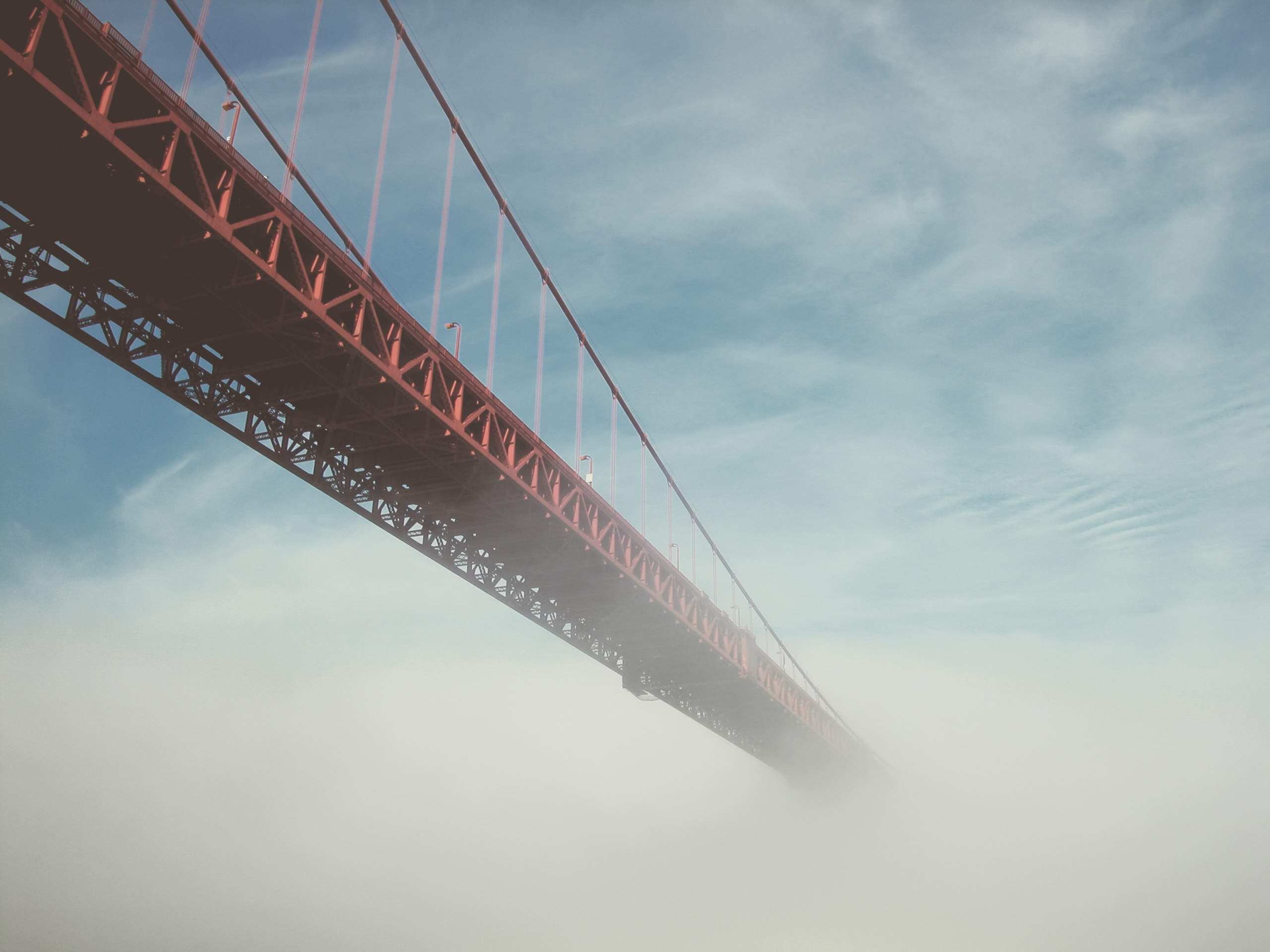 Bridge In The Mist, Architecture, Bridge, Engineering, Fog, HQ Photo