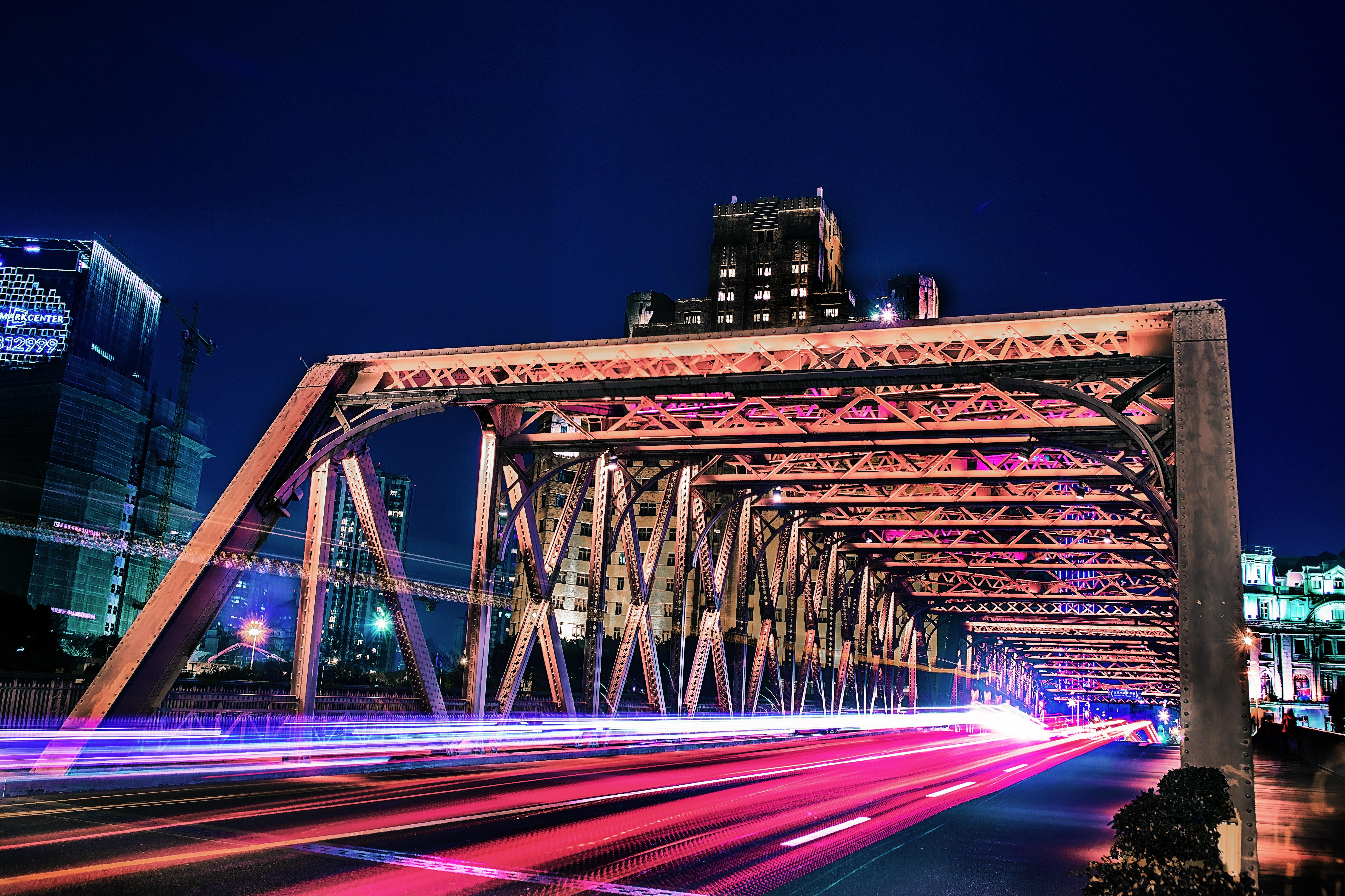 Bridge in Time-lapse Photo, Architecture, Long exposure, Urban, Travel, HQ Photo
