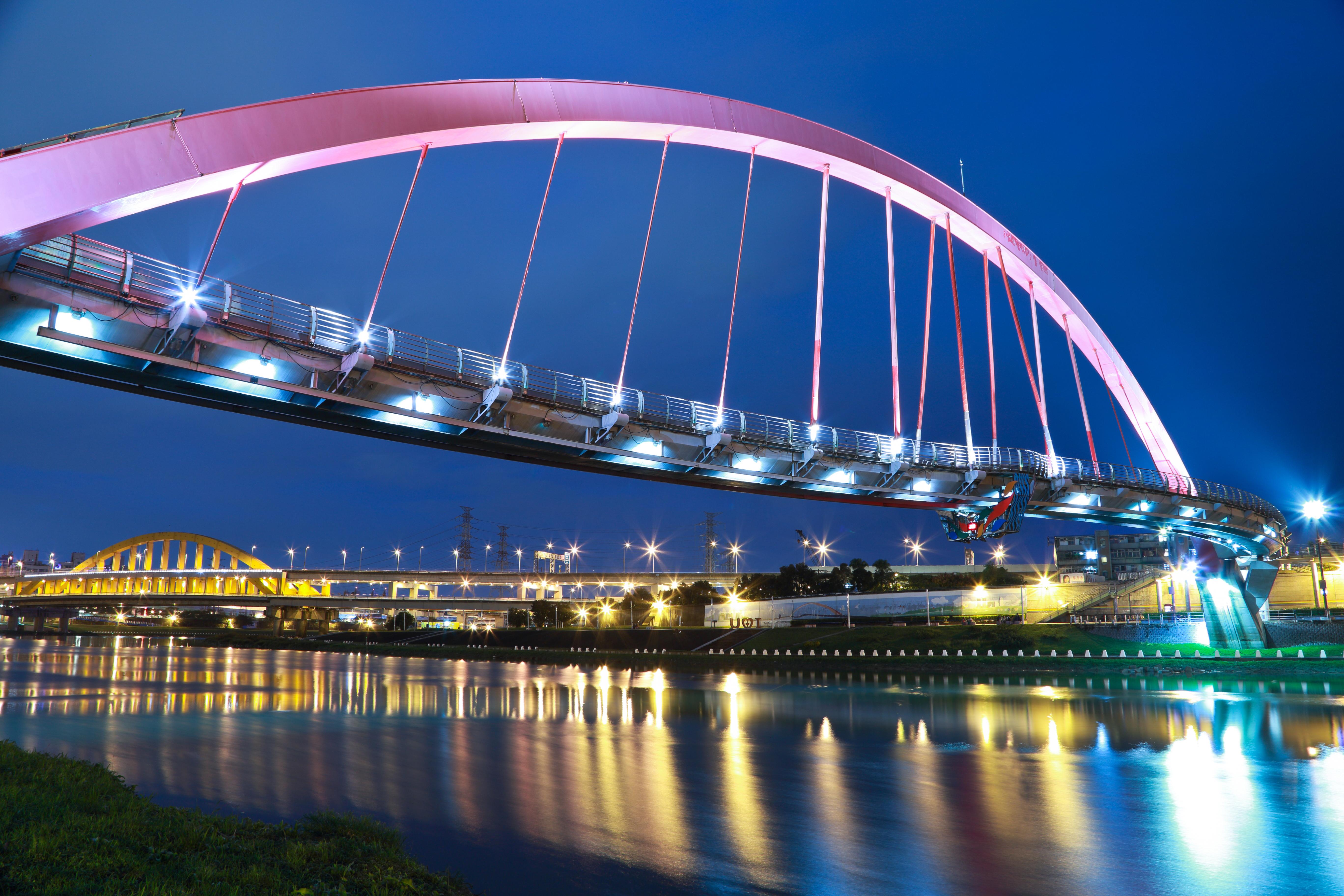 Bridge Over River, Architecture, Blue background, Bridge, Dusk, HQ Photo