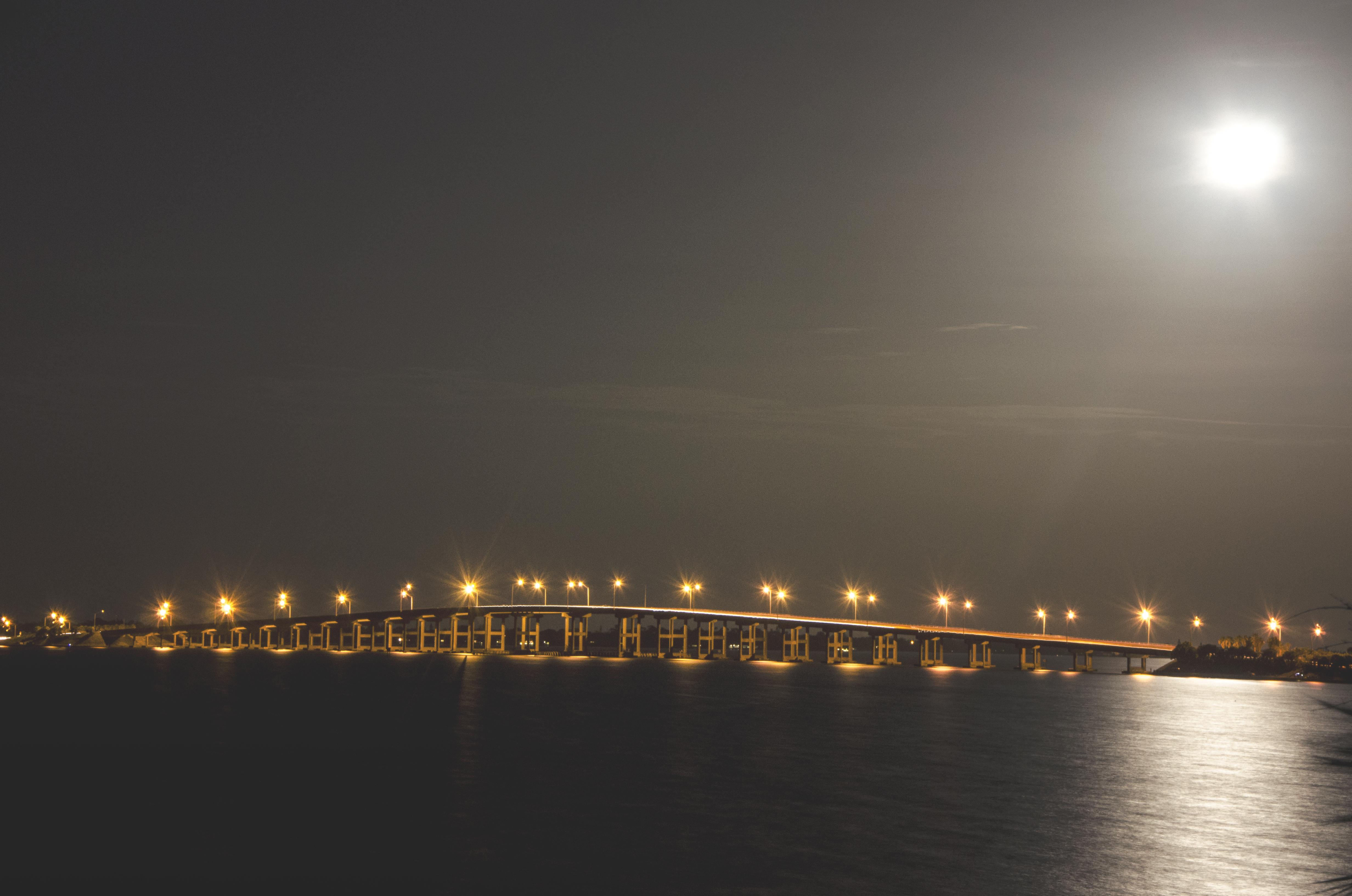 Bridge Over Water at Night, Bridge, Lights, Moon, Night, HQ Photo
