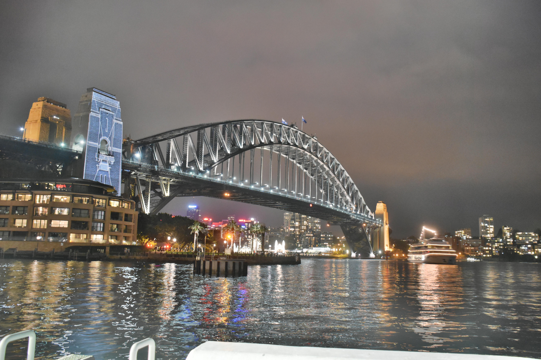 Bridge under grey cloudy sky during nighttime photo