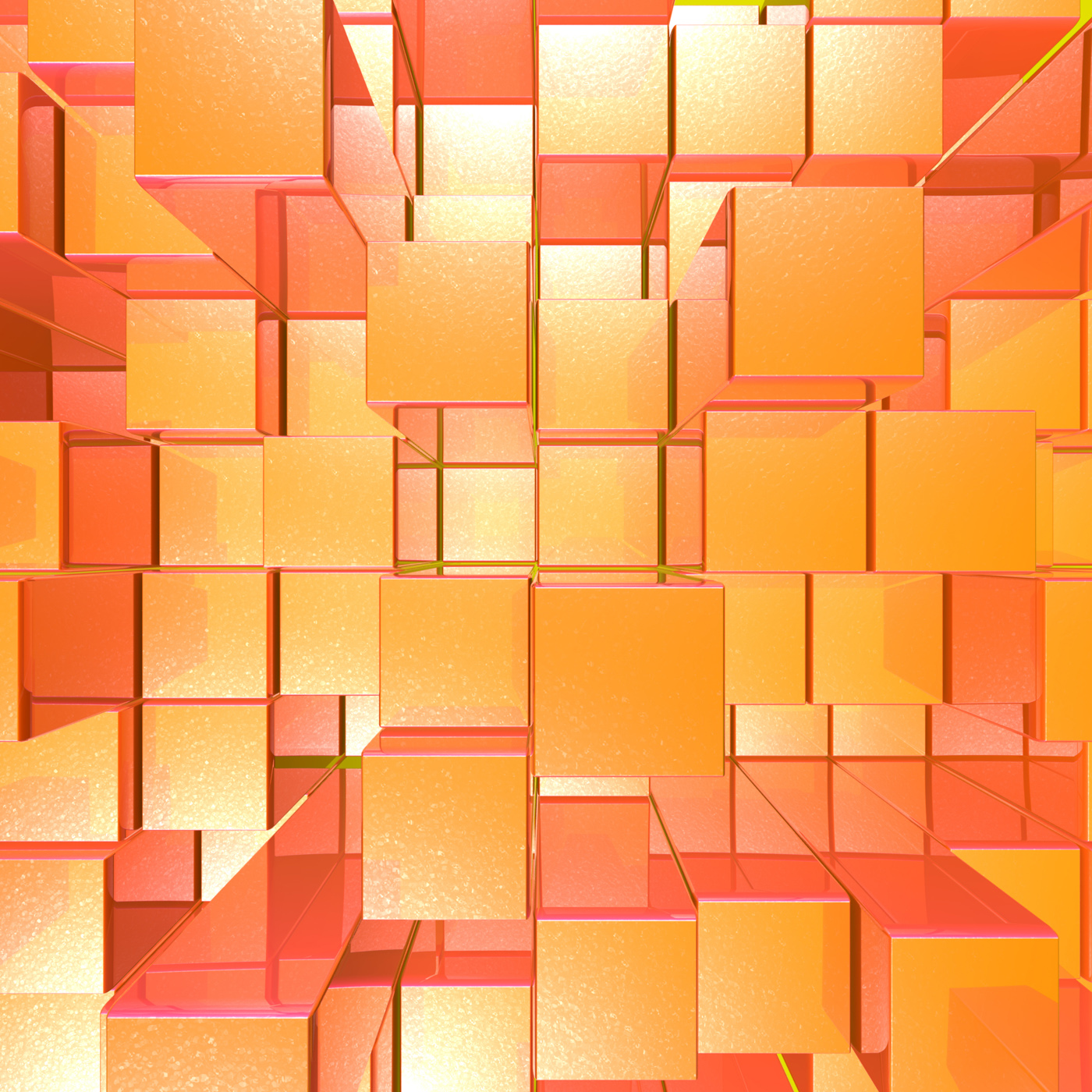 Bright glowing red and orange background with artistic cubes or square photo