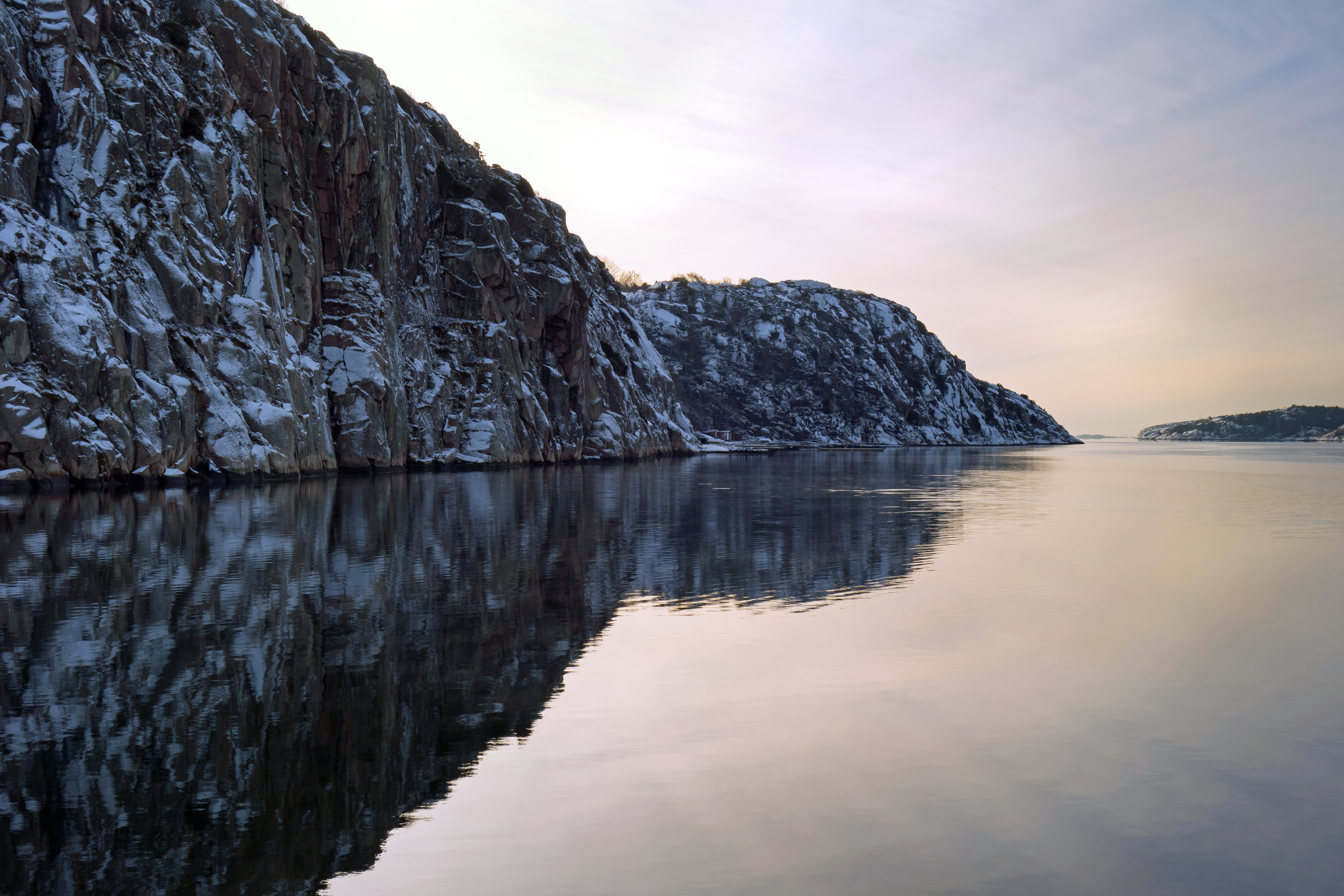 Brofjorden and snowy cliffs at Loddebo 1, Bay, Reflection, Winter, Water, HQ Photo