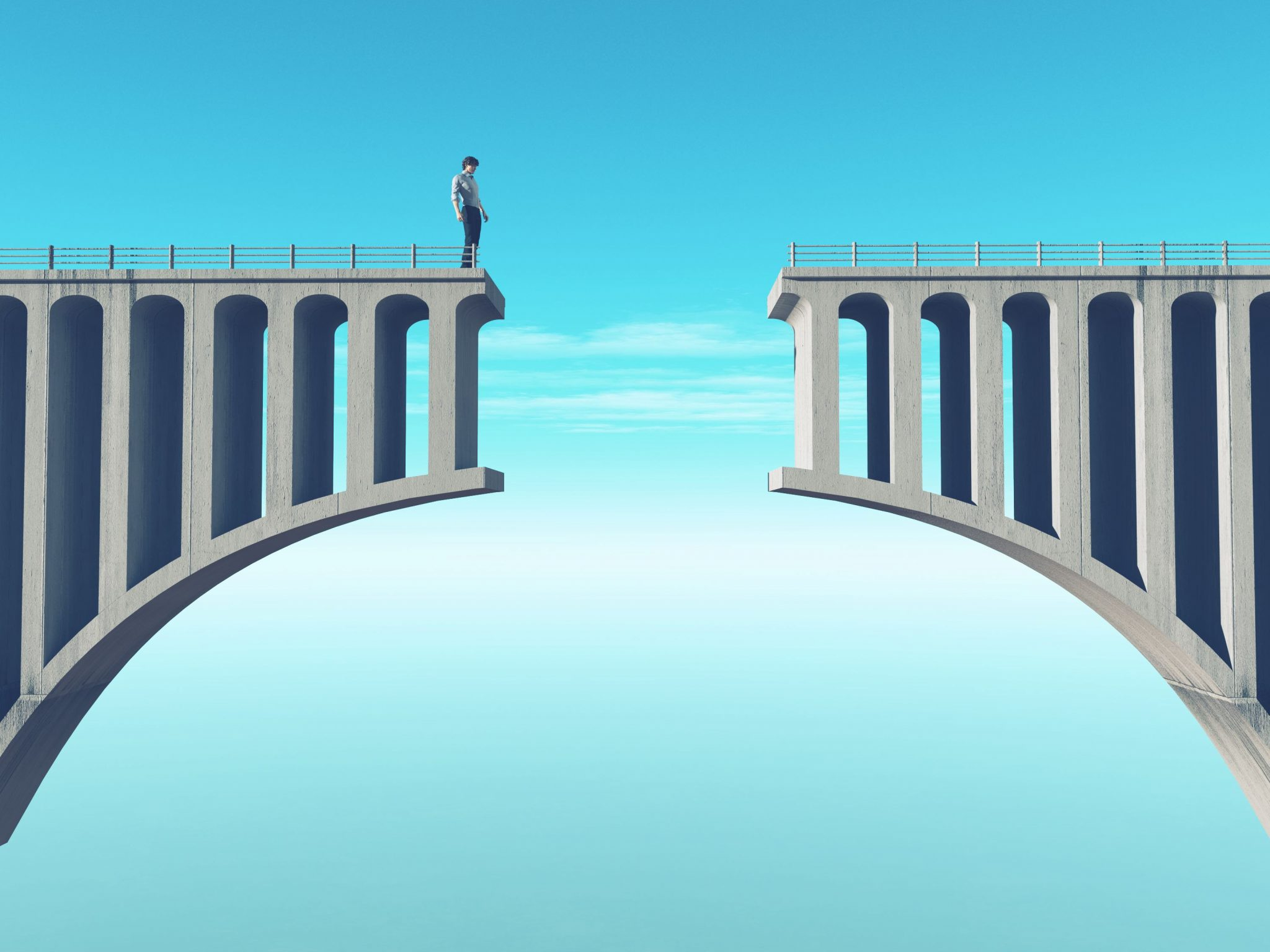 Man in front of a broken bridge - Capytech