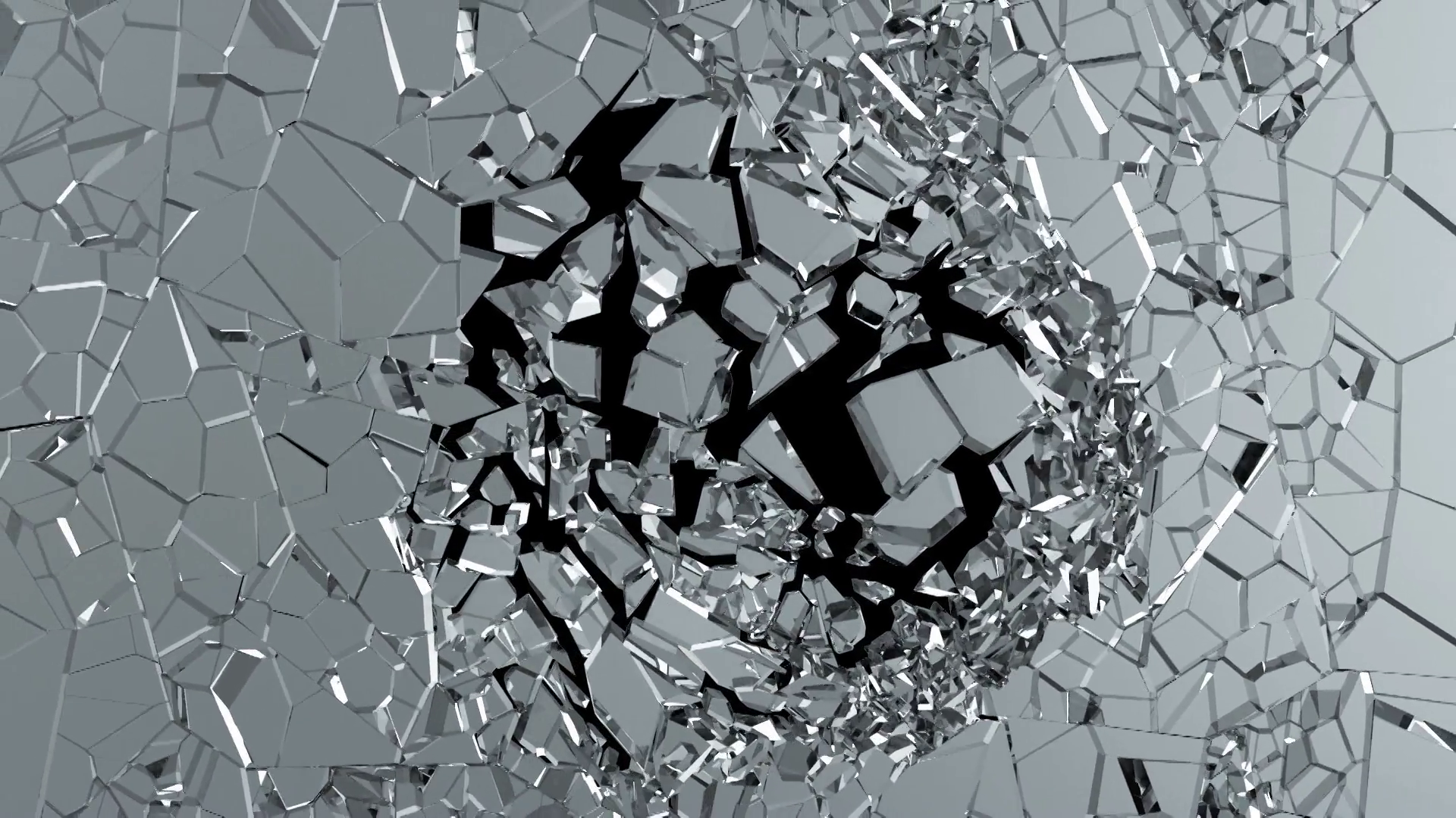 Slow Motion Animation of Broken Glass on black background with Alpha ...