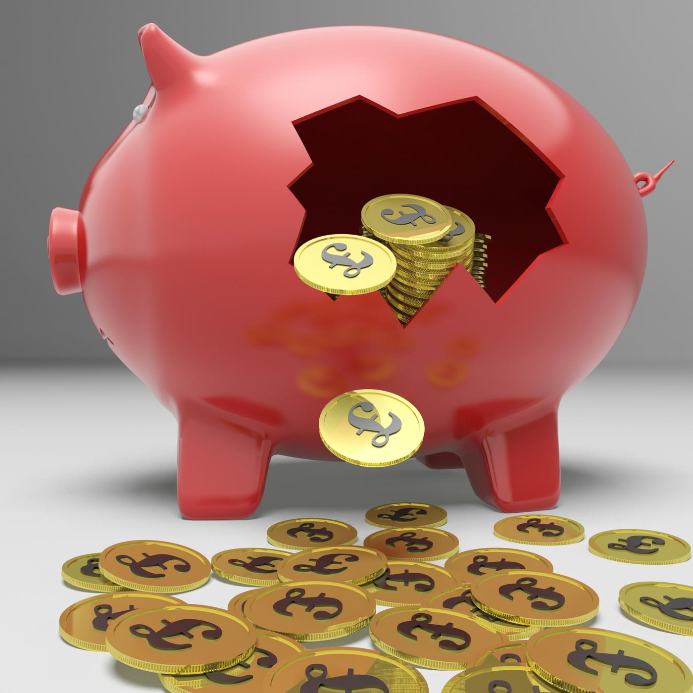 Broken Piggybank Shows Britain Bank Deposits, Financial, Savings, Save, Profit, HQ Photo