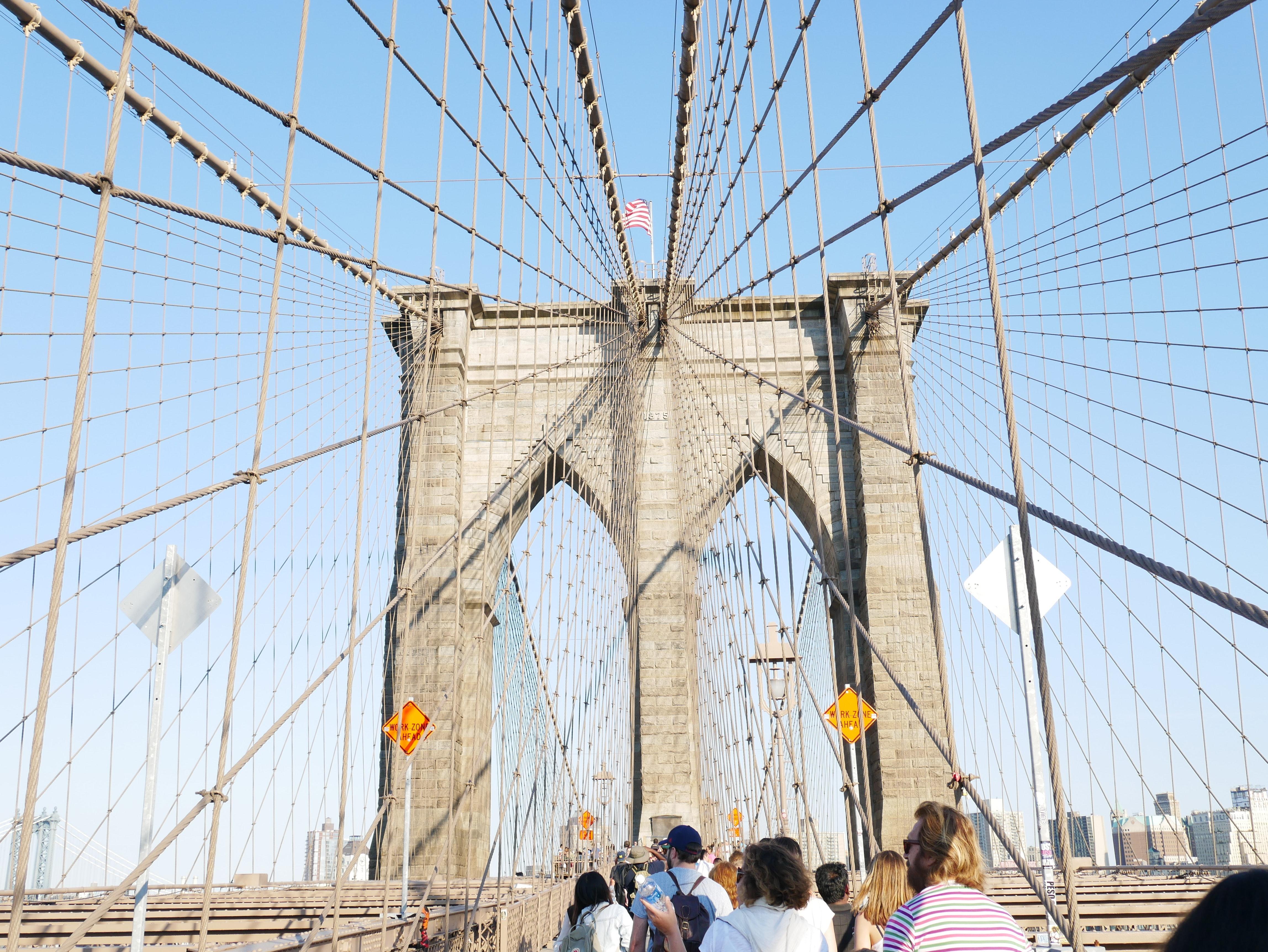 Brooklyn Bridge, U.s.a., American flag, Landmark, Tower, Steel, HQ Photo