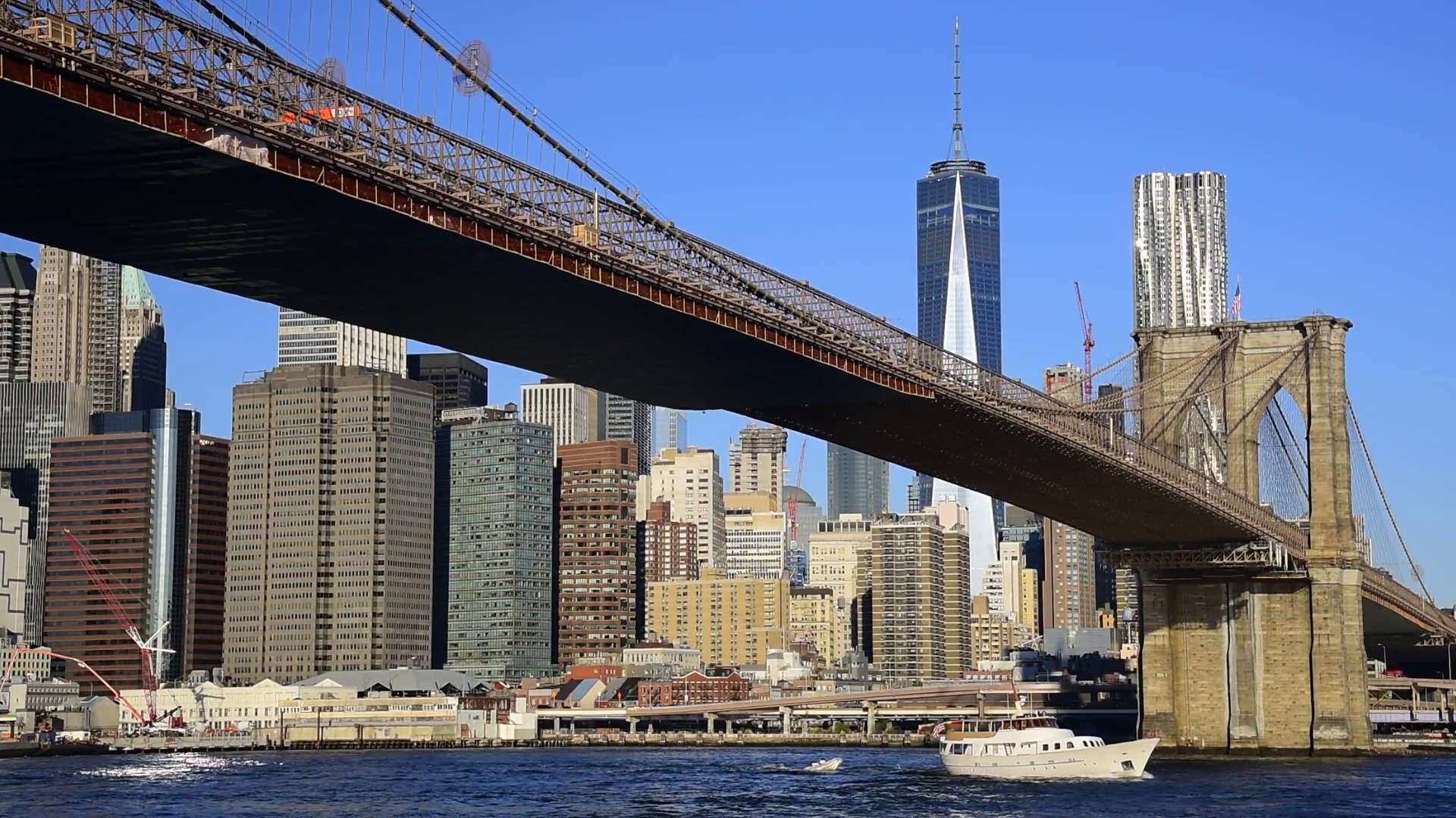 USA, New York, Manhattan, Lower Manhattan, East River, Brooklyn ...