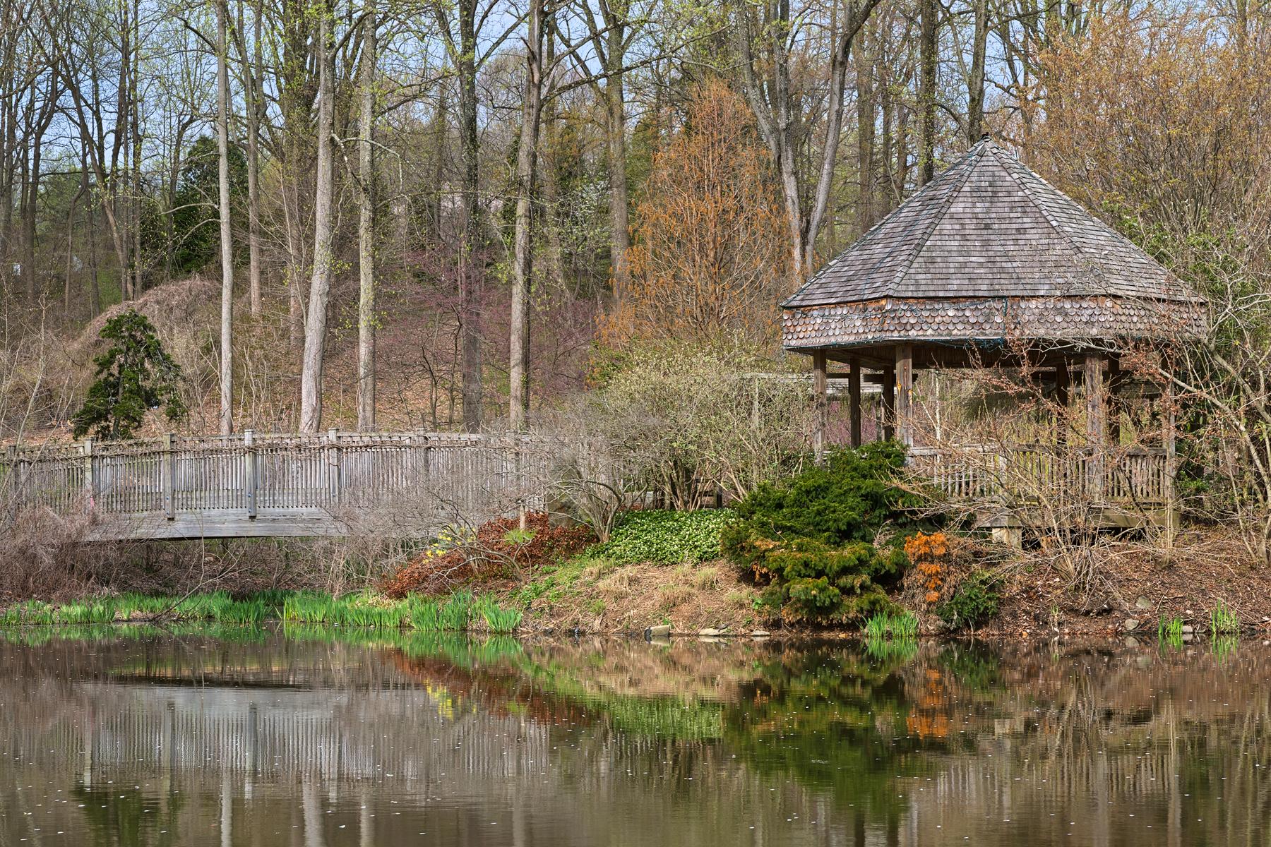 Brookside Bridge & Gazebo - HDR, America, Reflected, Serenity, Serene, HQ Photo