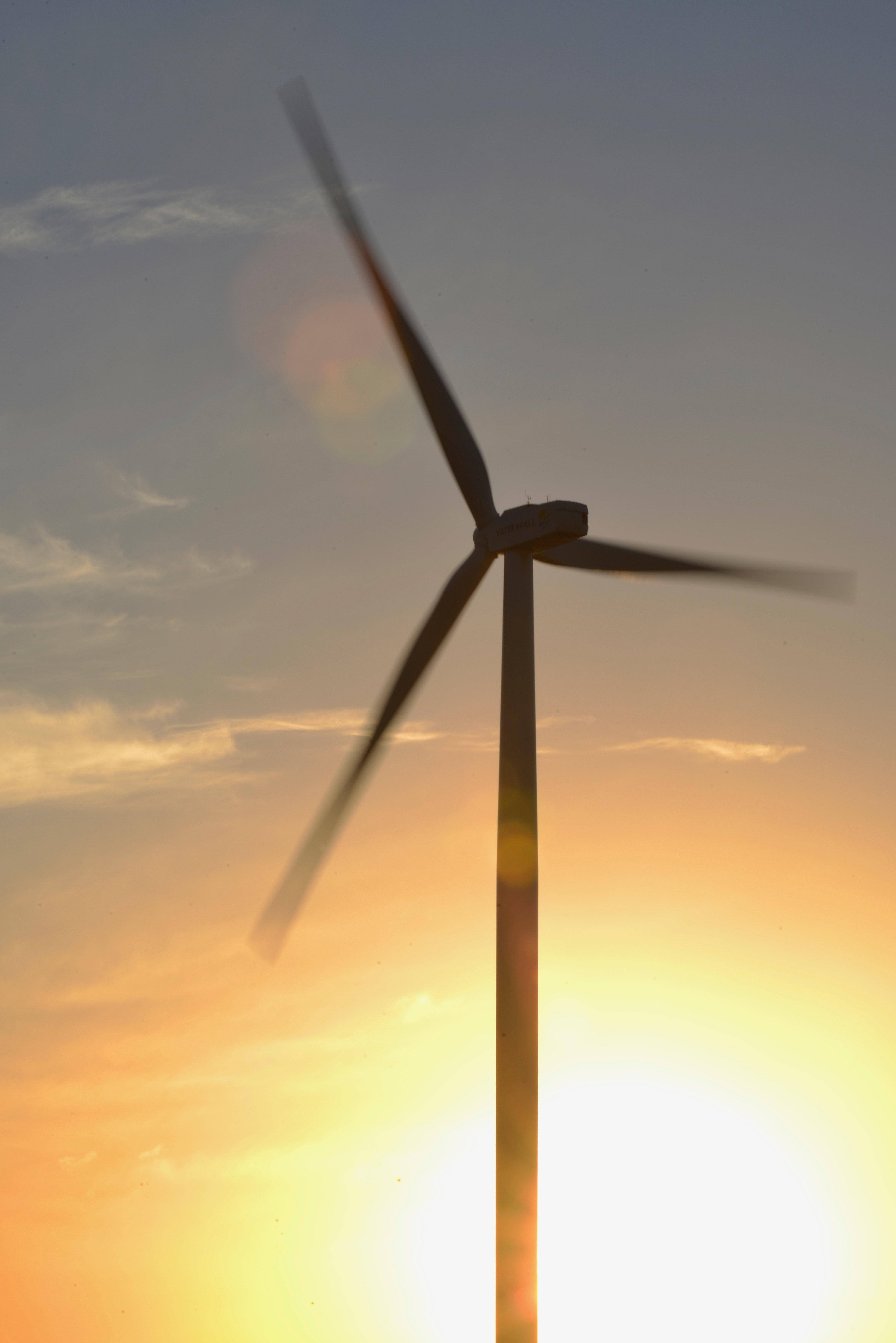 Brown 3-blade Windmill on Surise, Alternative, Production, Wind turbine, Wind power, HQ Photo