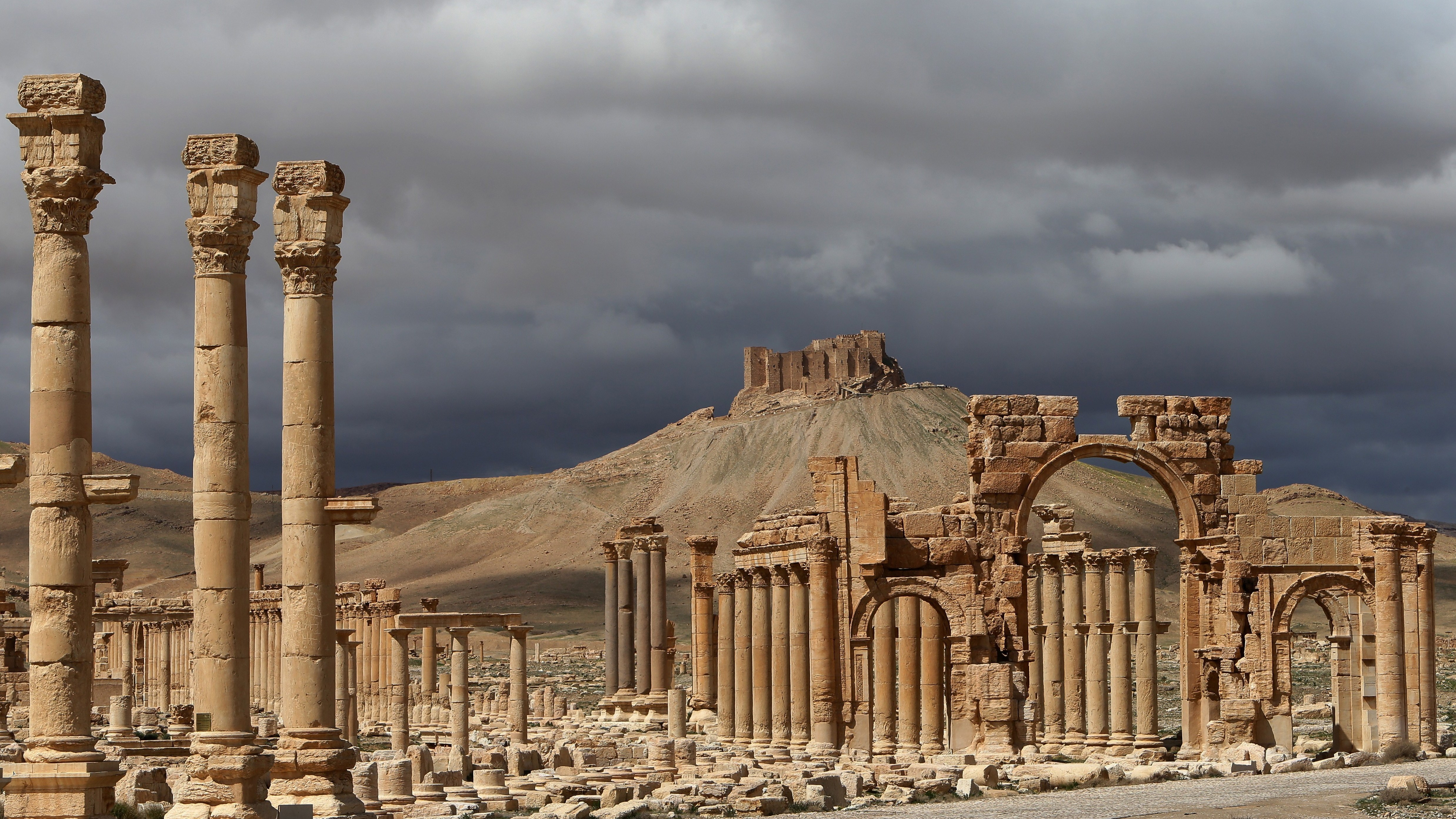 A photo from 2014 shows ancient ruins of Palmyra that date back ...