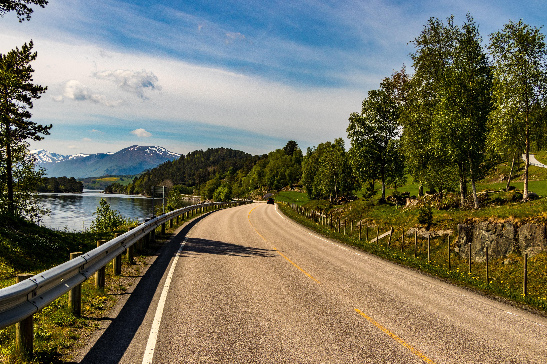 Brown asphalt road beside lake photo