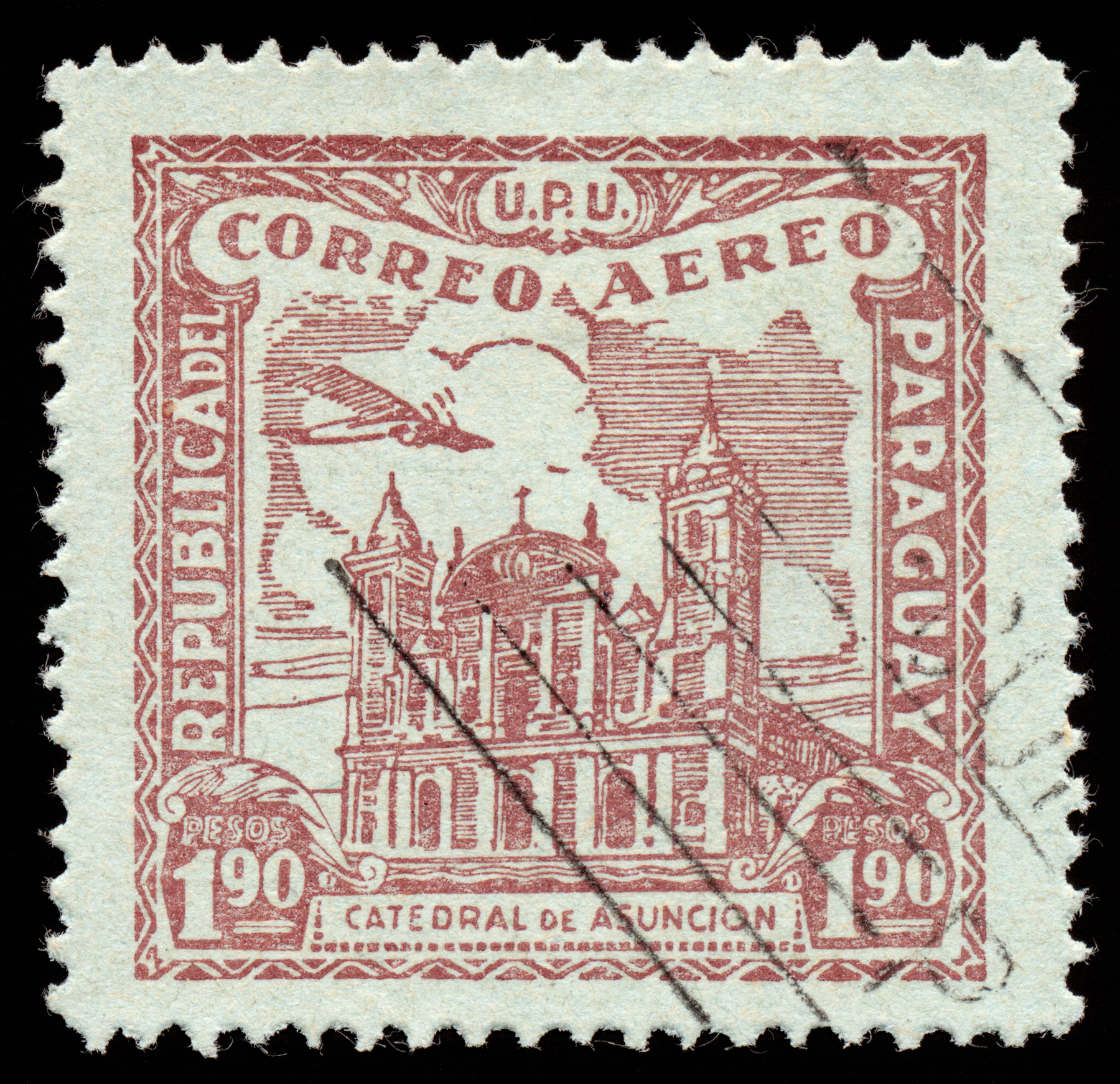 Brown asuncion cathedral airmail stamp photo