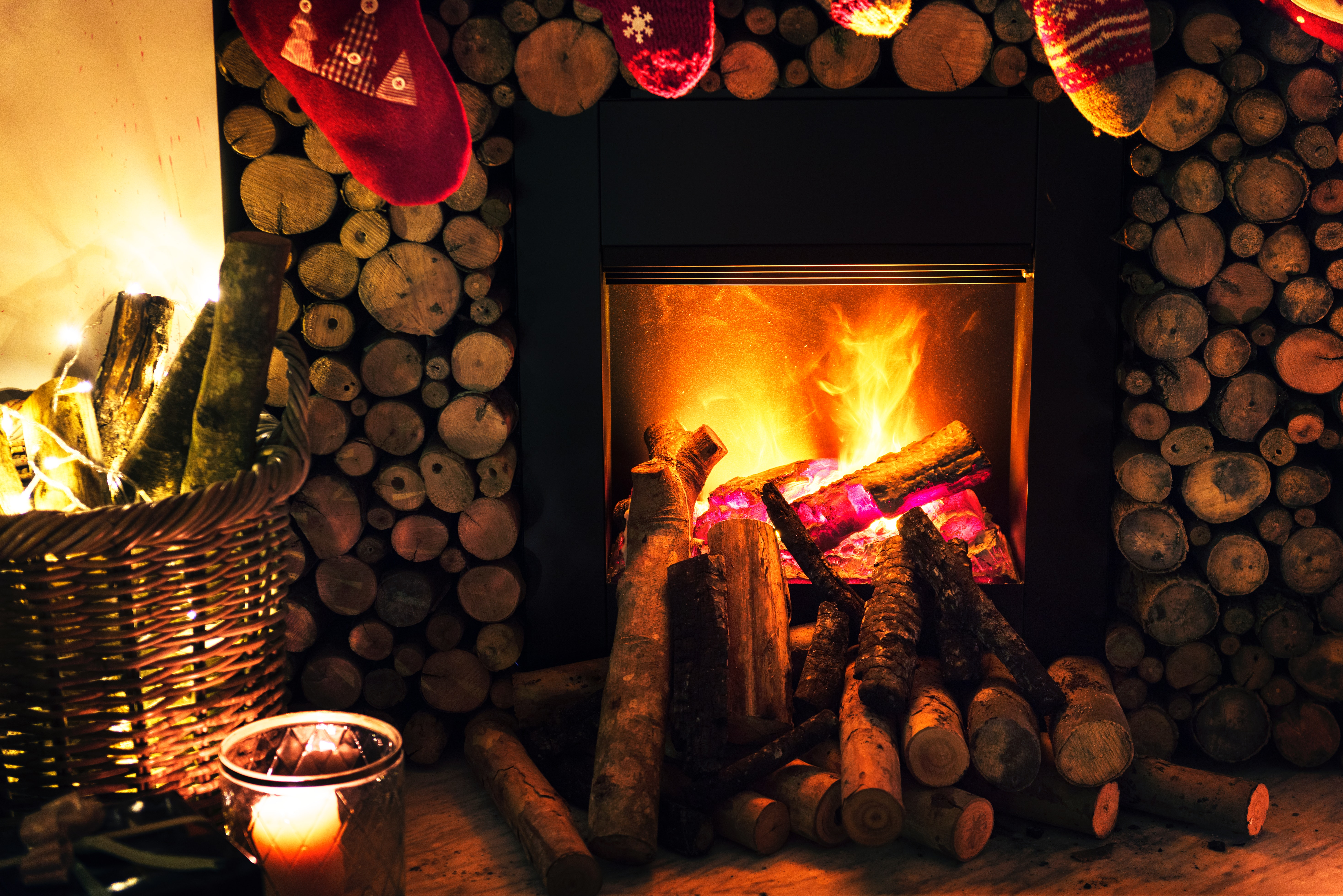Brown Beside Fireplace Near Brown Wicker Basket, Basket, Holiday, Woods, Warmth, HQ Photo