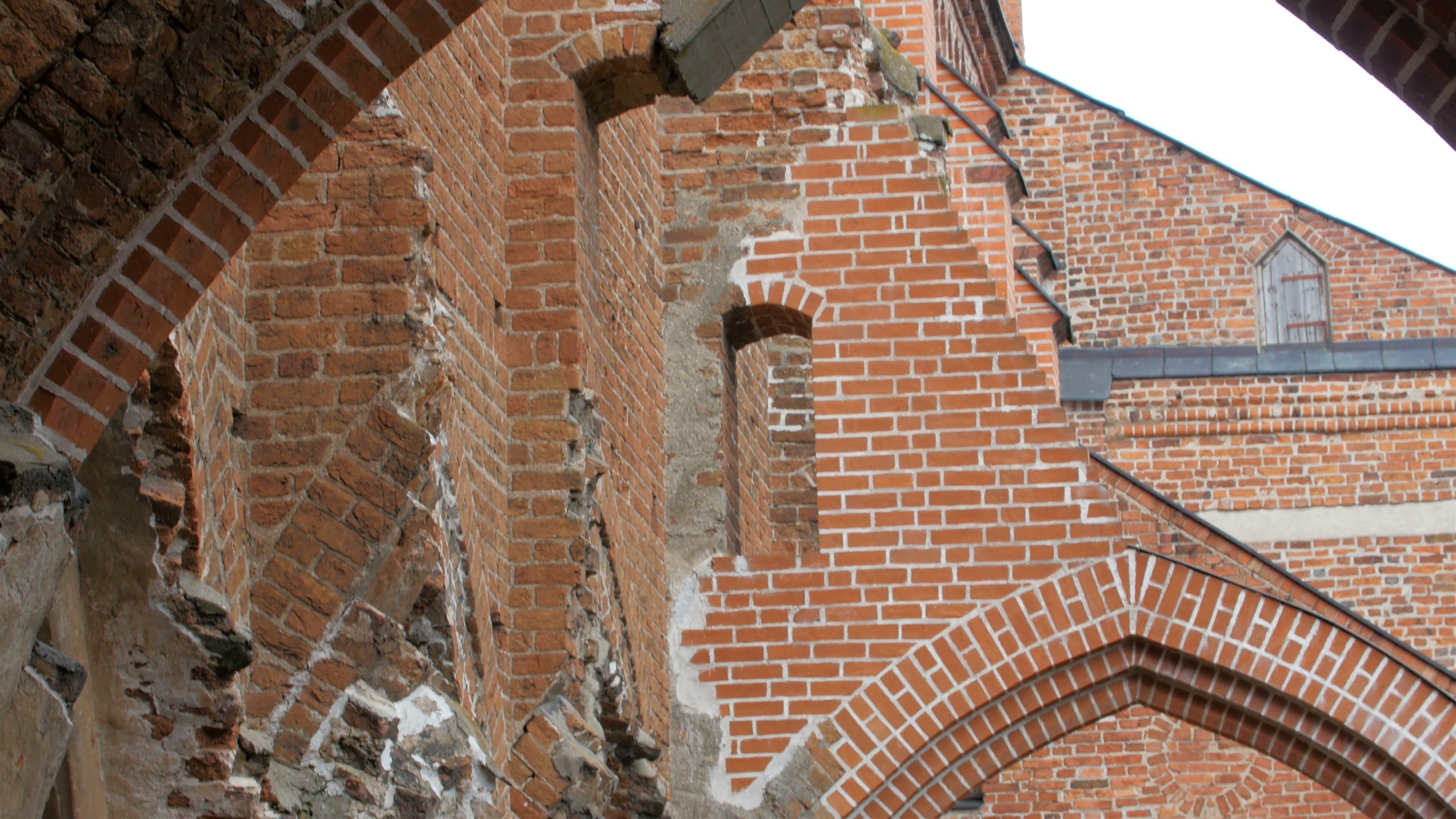 The old ruined bricked wall church Stock Video Footage - Videoblocks