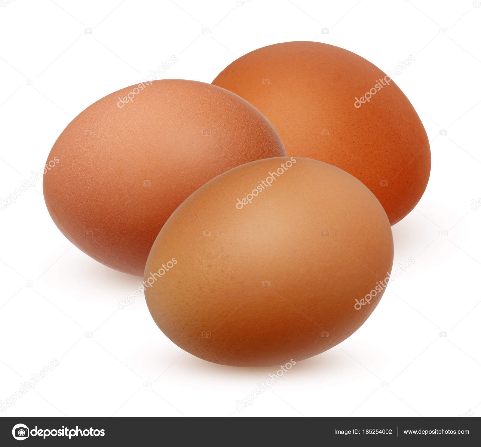 Three brown chicken egg isolated on white background — Stock Photo ...