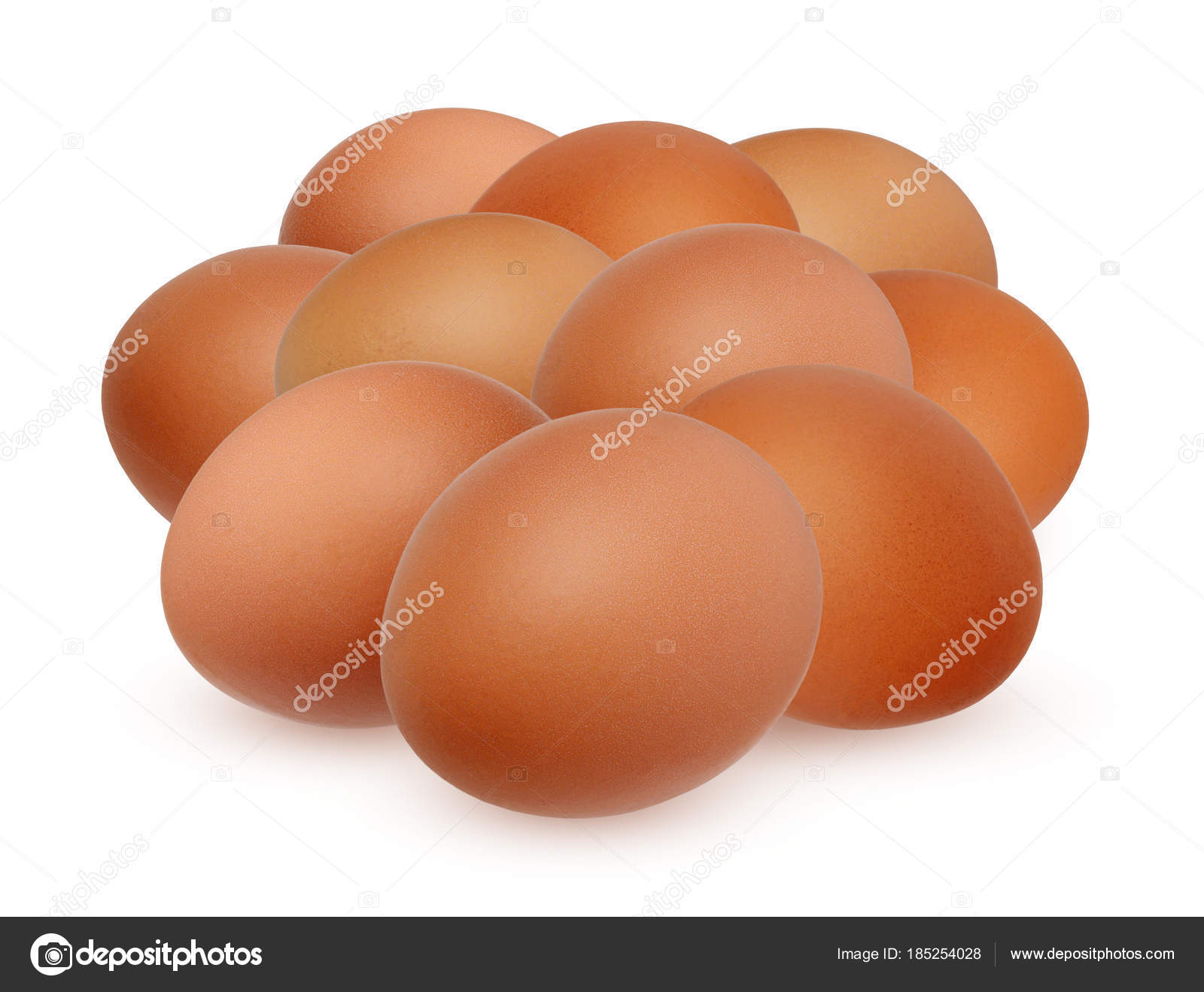 Ten brown chicken egg isolated on white background — Stock Photo ...
