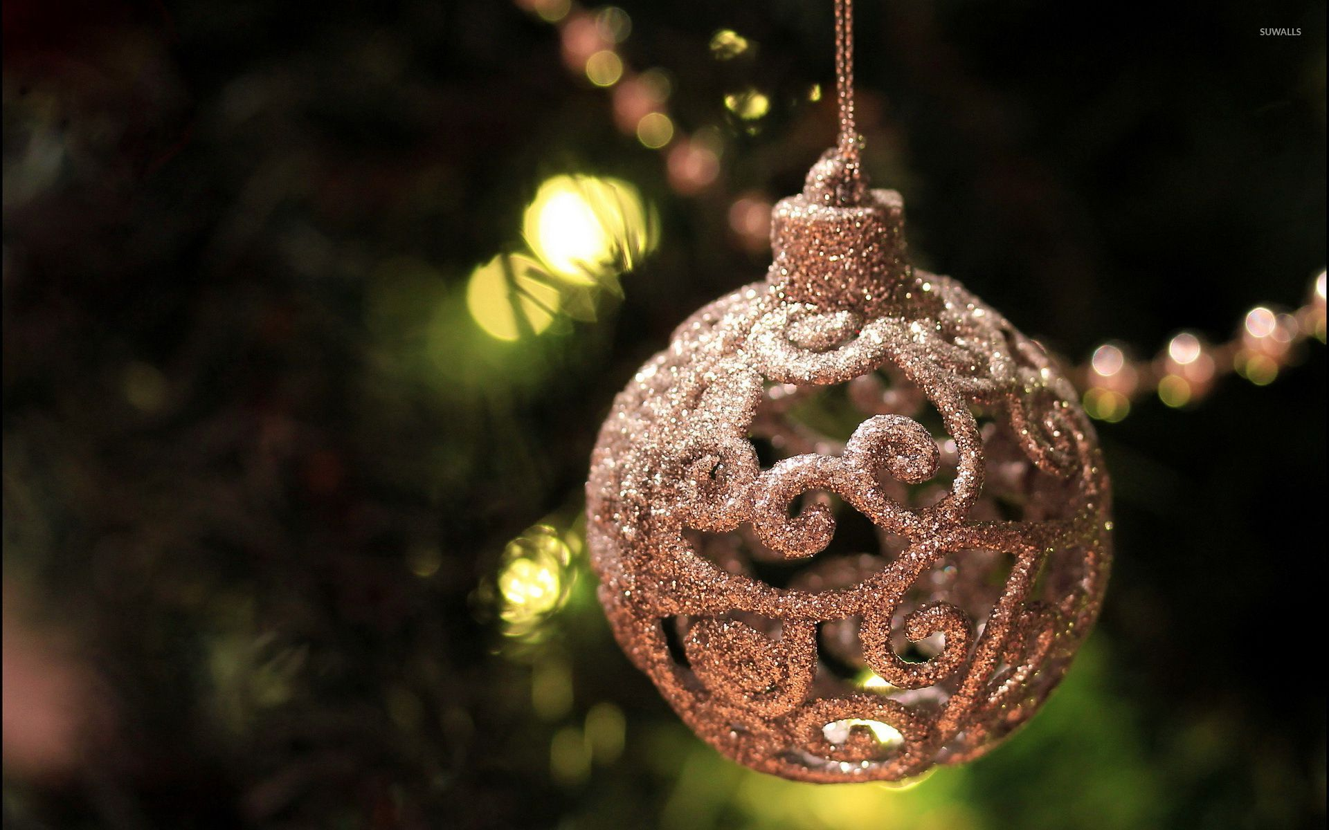 Beautiful silver bauble in the Christmas tree wallpaper - Holiday ...