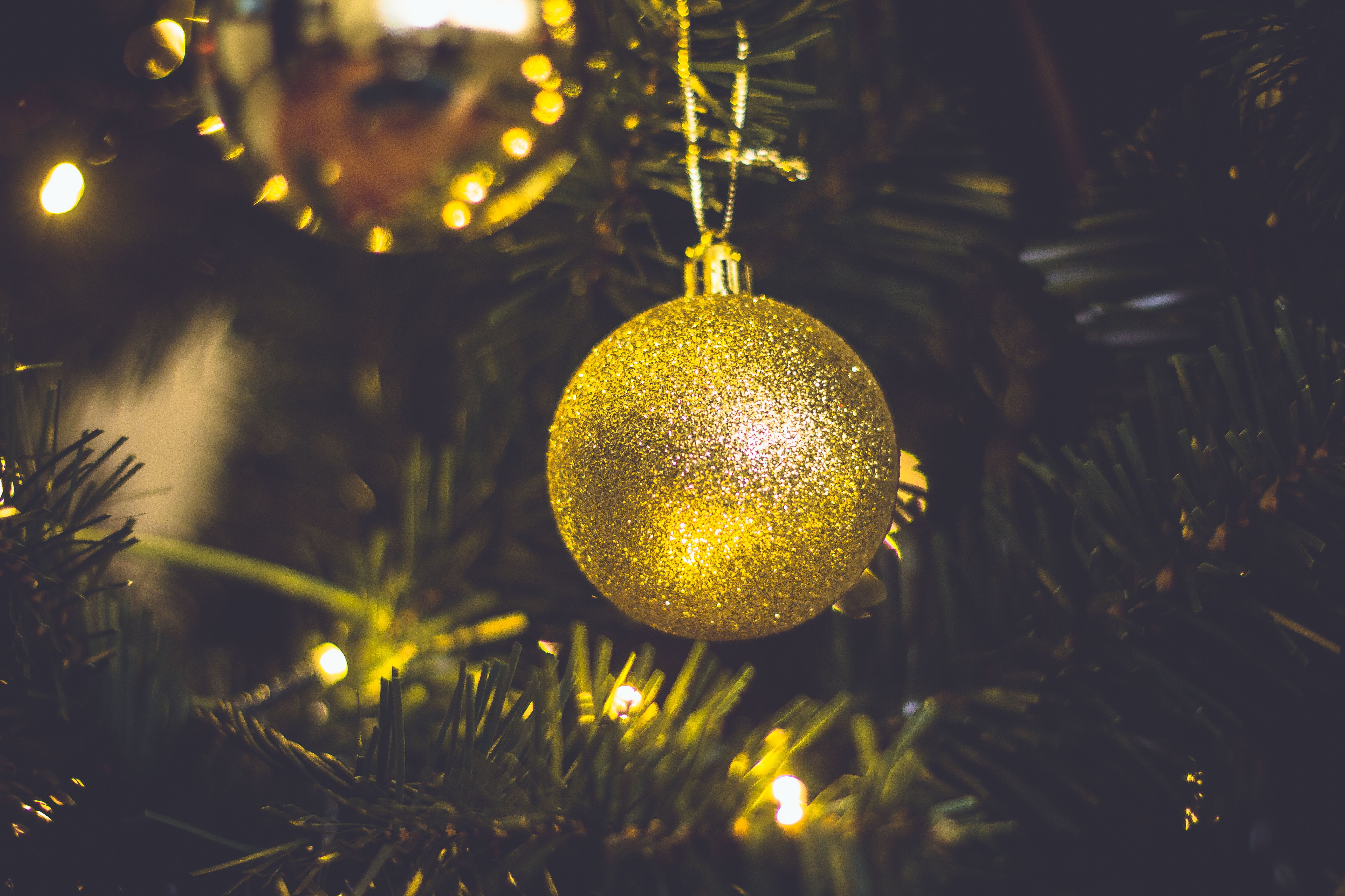 Brown Christmas Bauble, Balls, Gold, Tree, Thread, HQ Photo