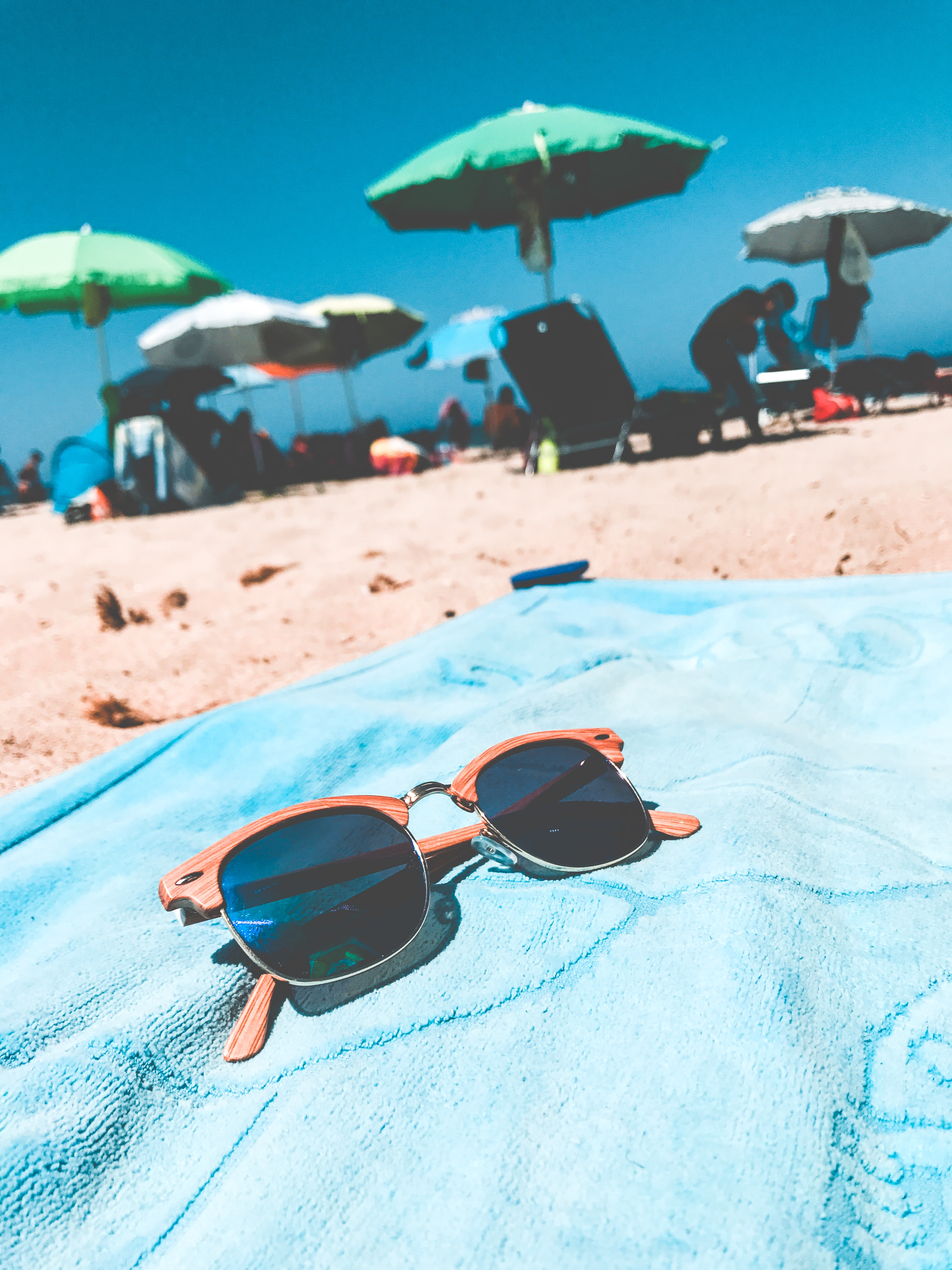 Brown Clubmaster Sunglasses on Blue Towel, Sunglasses, Summer, Swimming, Towel, HQ Photo