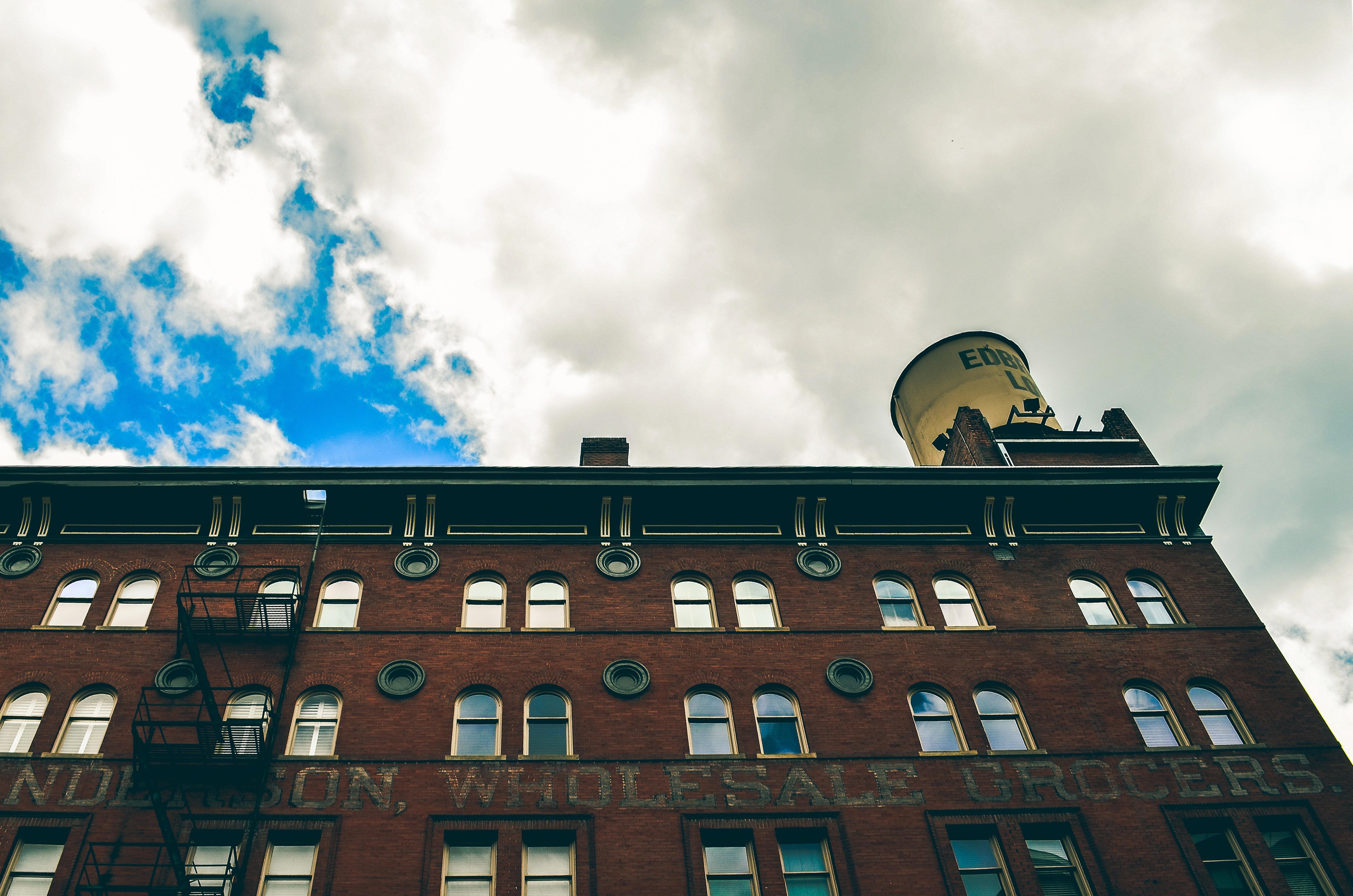 Brown Concrete Biulding, Glass windows, Windows, Urban, Sky, HQ Photo